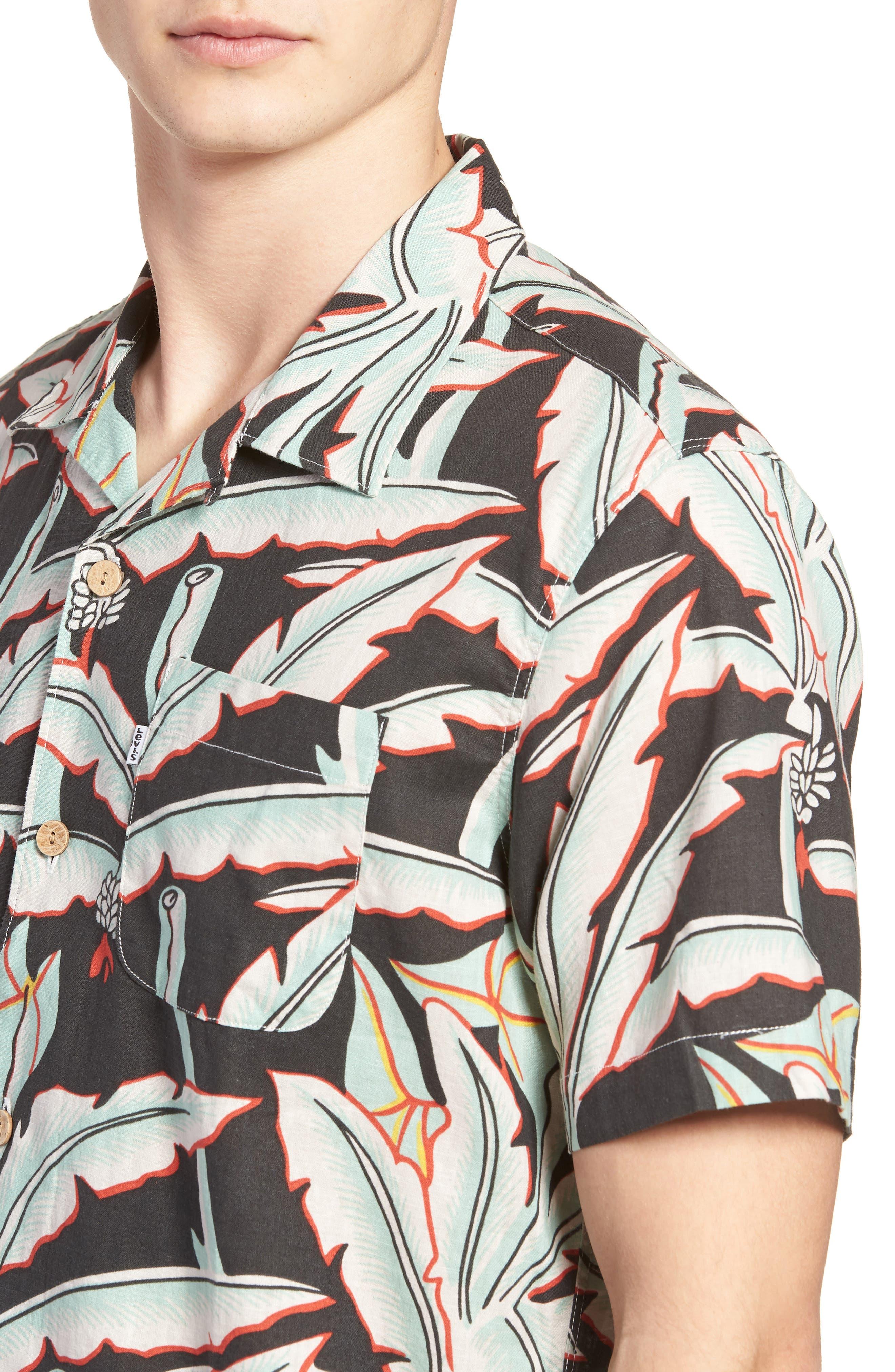 Hawaiian Woven Shirt,                             Alternate thumbnail 4, color,                             Holtville Ming Green