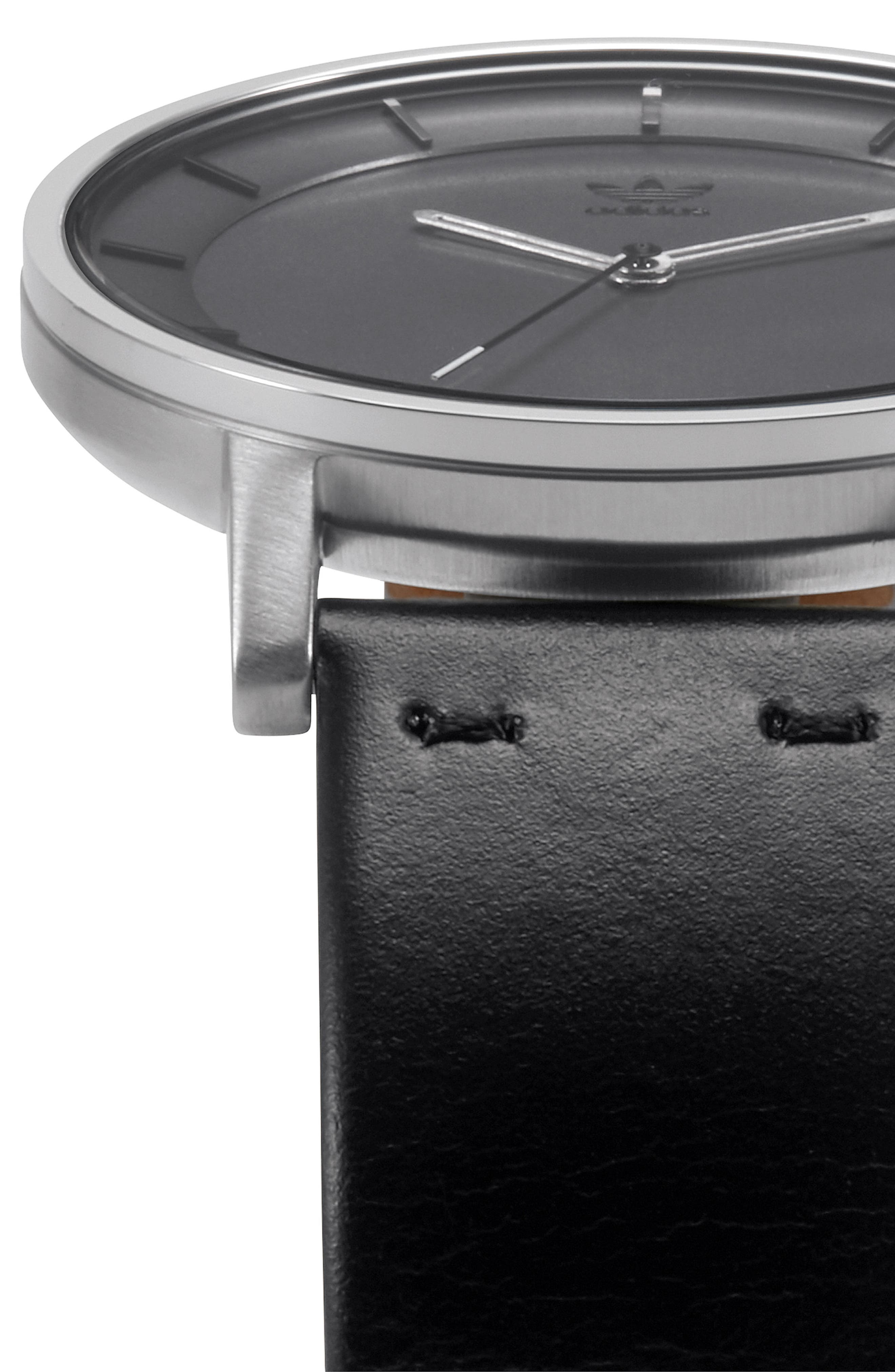 District Leather Strap Watch, 40mm,                             Alternate thumbnail 3, color,                             Black/ Charcoal/ Silver