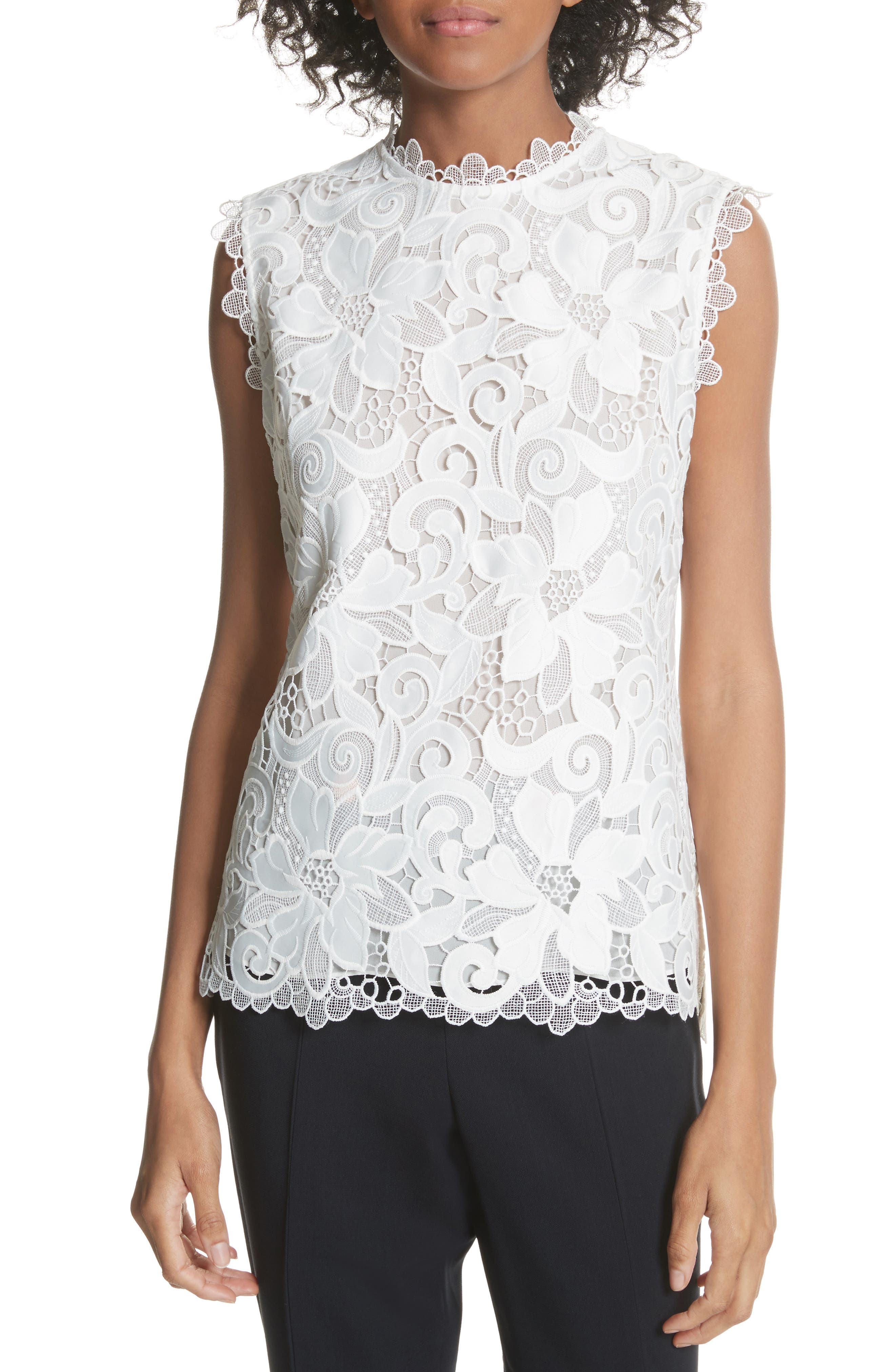 Scalloped Lace Top,                         Main,                         color, Natural