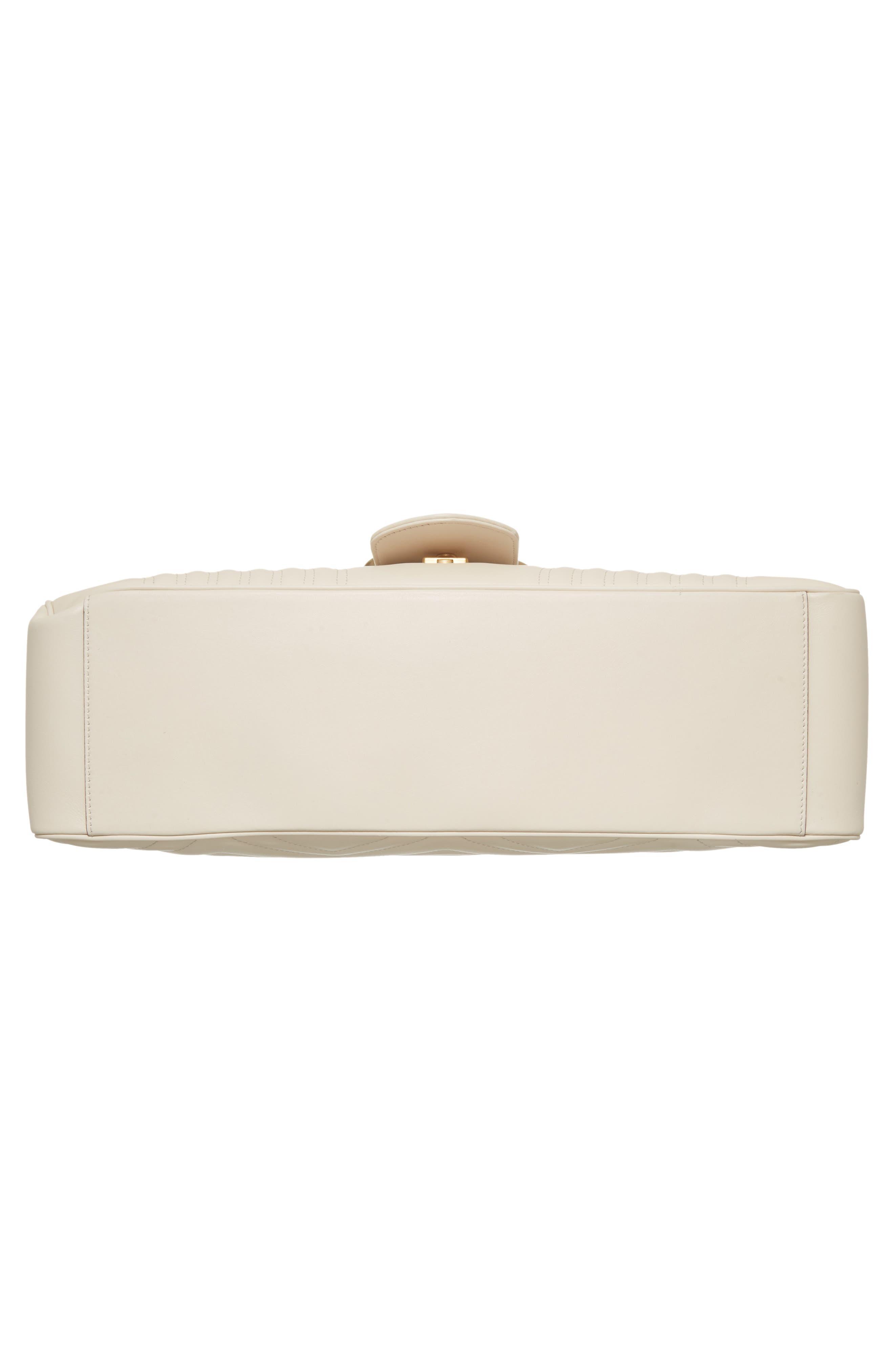 GG Marmont Maxi Matelassé Top Handle Shoulder Bag,                             Alternate thumbnail 6, color,                             White