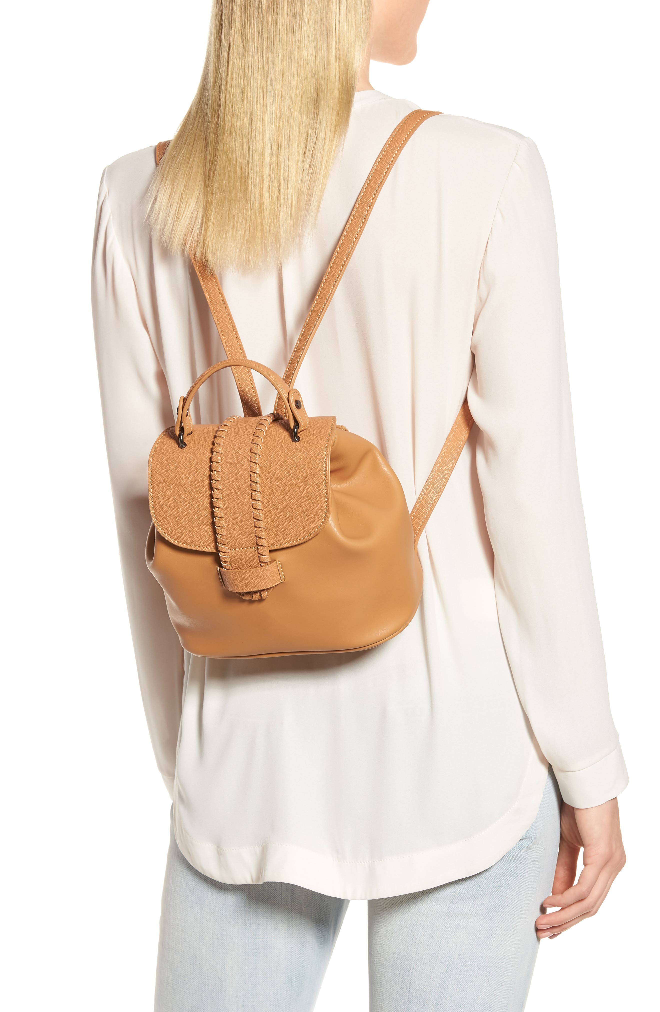 Whipstitch Faux Leather Backpack,                             Alternate thumbnail 2, color,                             Cognac
