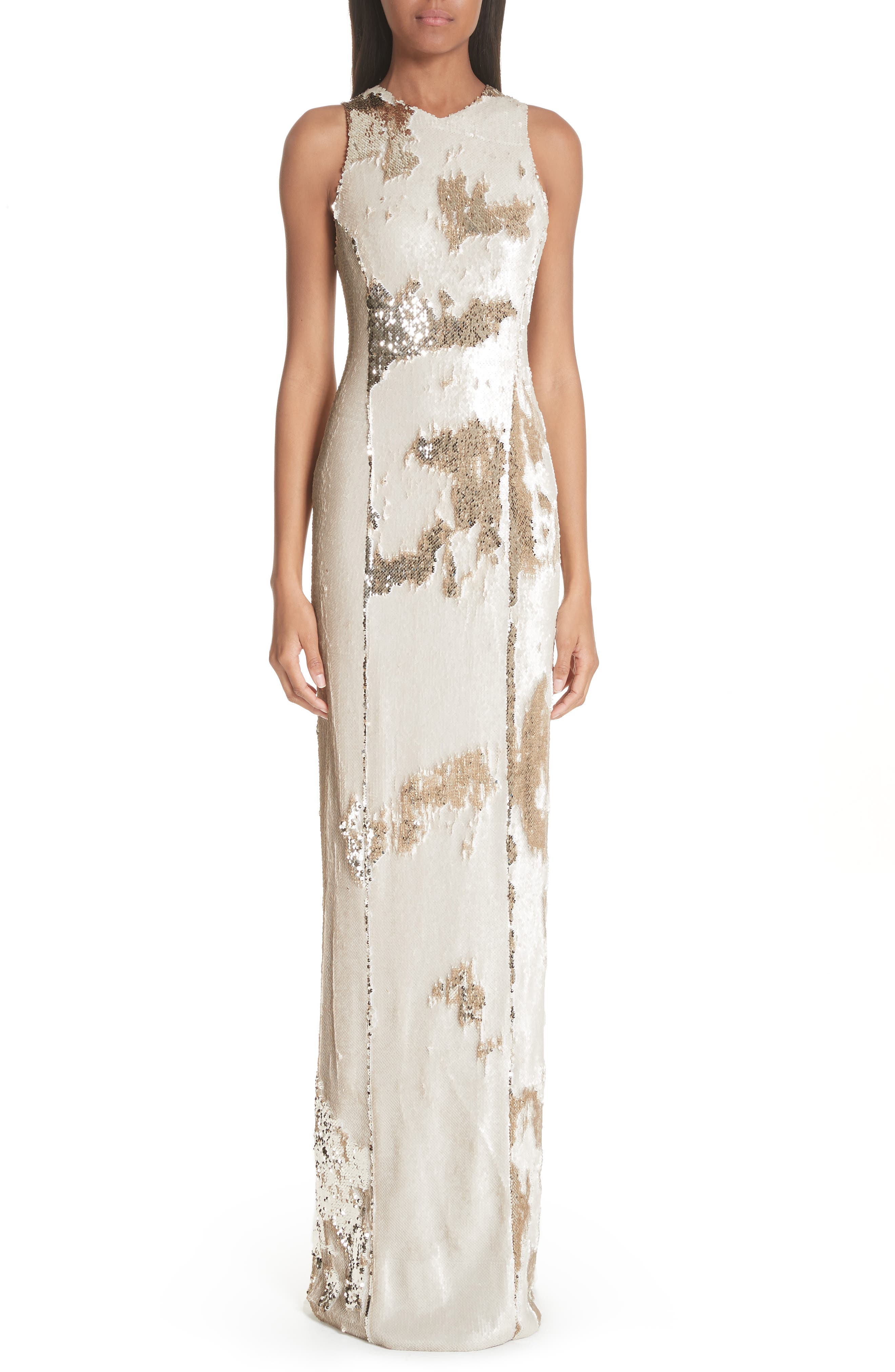 Sequin Column Gown,                         Main,                         color, Nude Light Gold