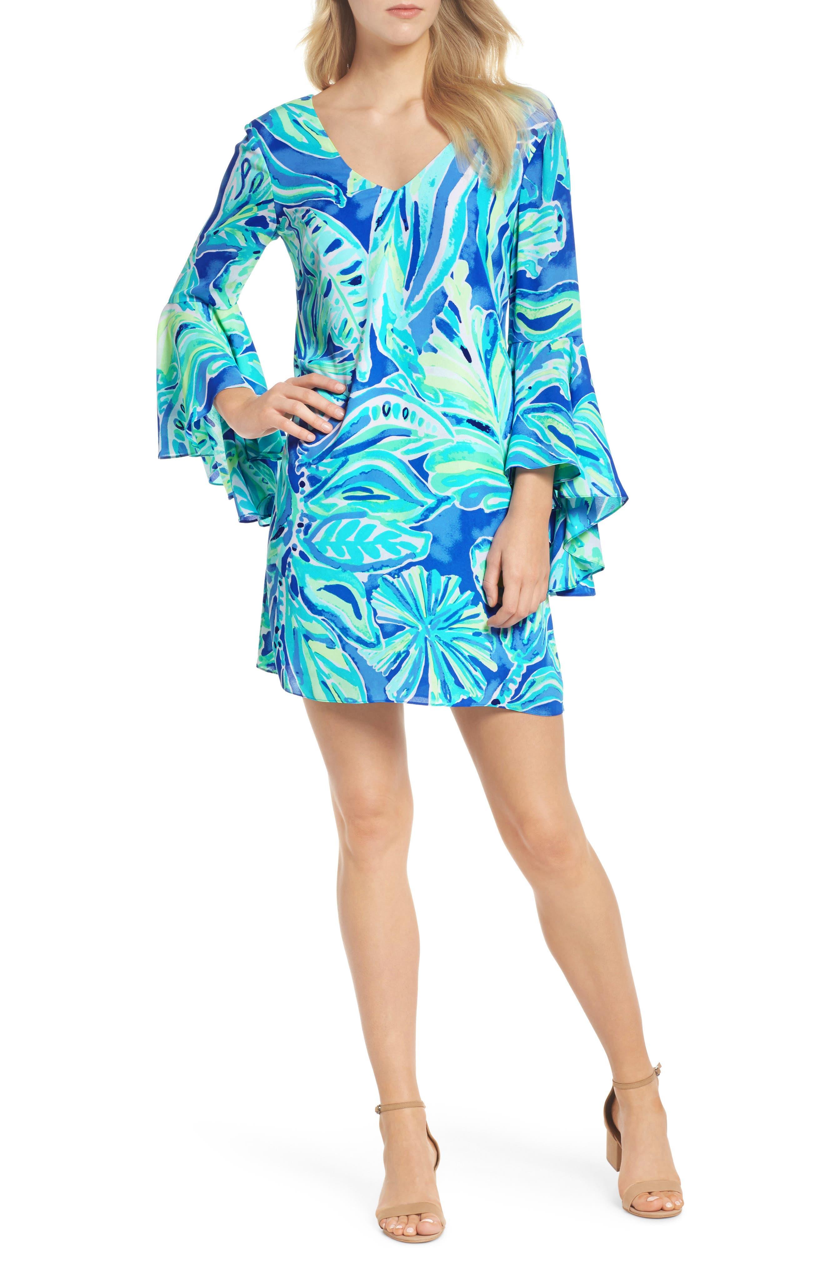 Rosalia Bell Sleeve Shift Dress,                         Main,                         color, Beckon Blue Palm Passage
