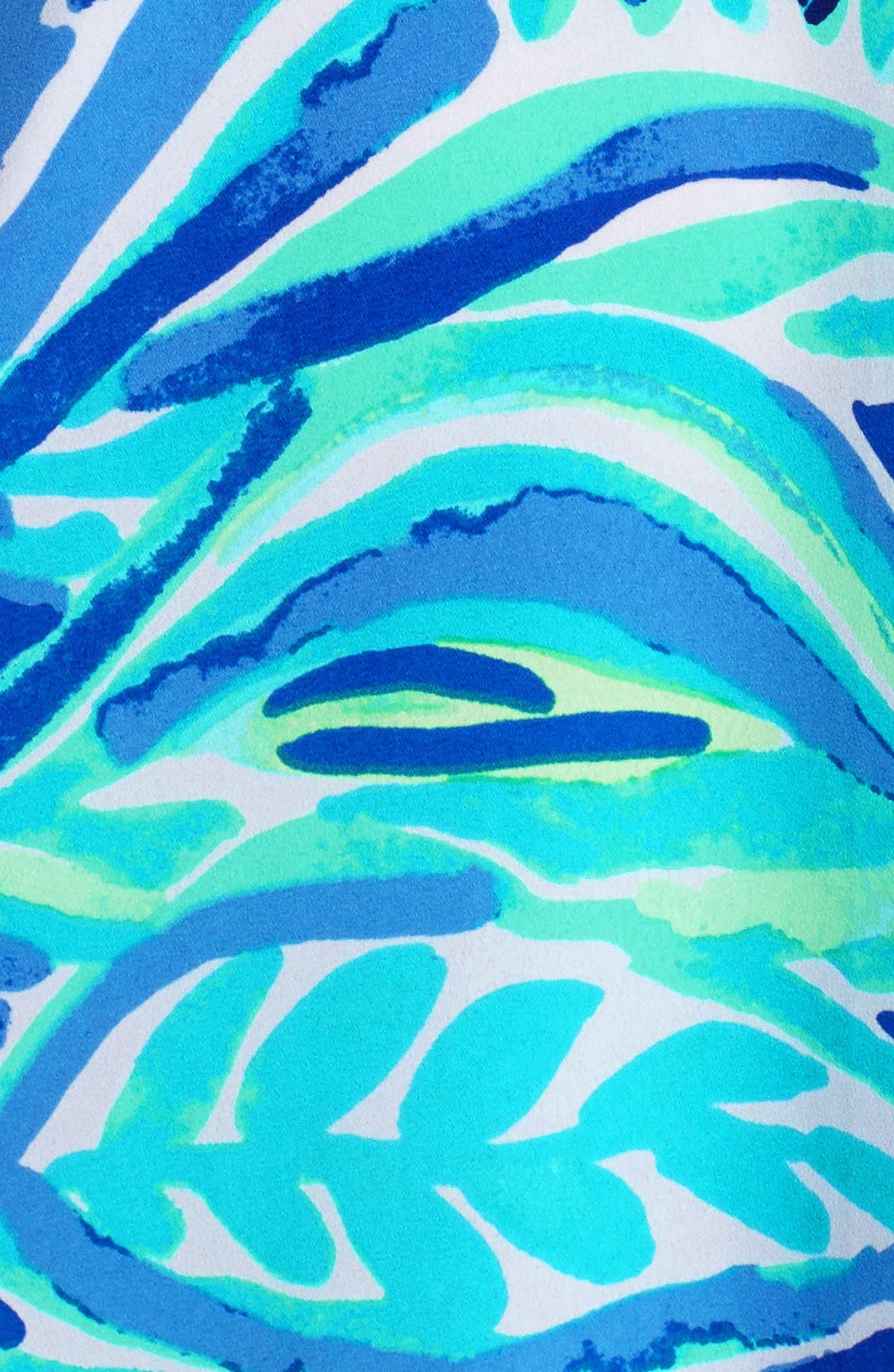 Rosalia Bell Sleeve Shift Dress,                             Alternate thumbnail 5, color,                             Beckon Blue Palm Passage