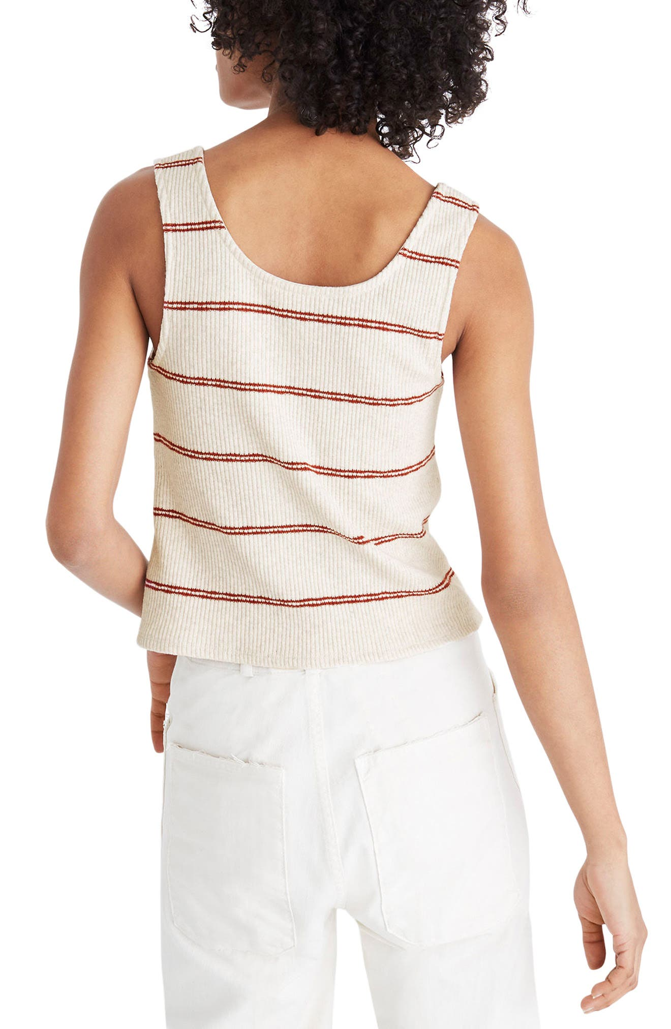 Stripe Ribbed Button Front Tank,                             Alternate thumbnail 2, color,                             Heather Muslin