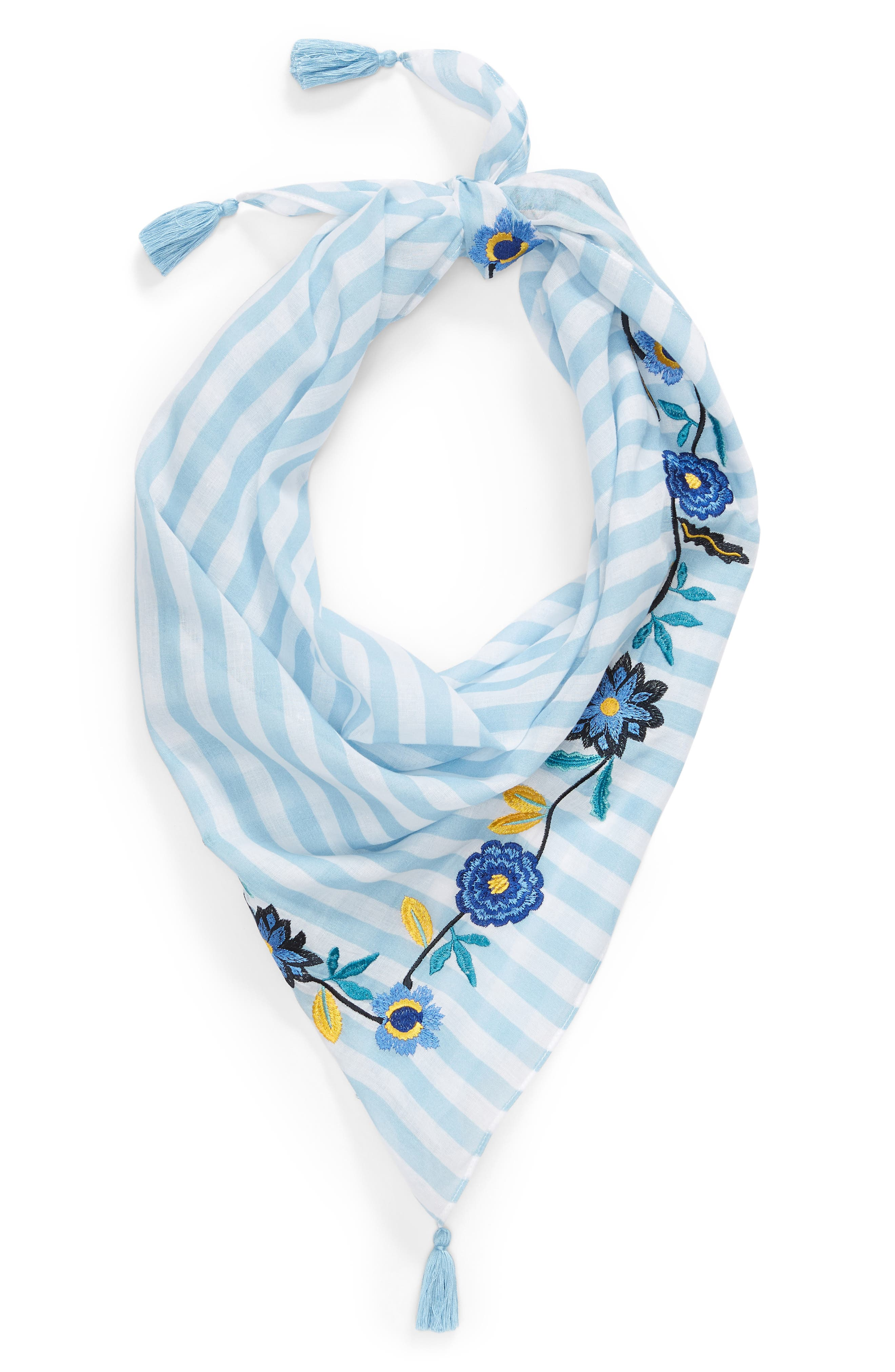 Embroidered Stripe Square Scarf,                             Alternate thumbnail 2, color,                             Blue