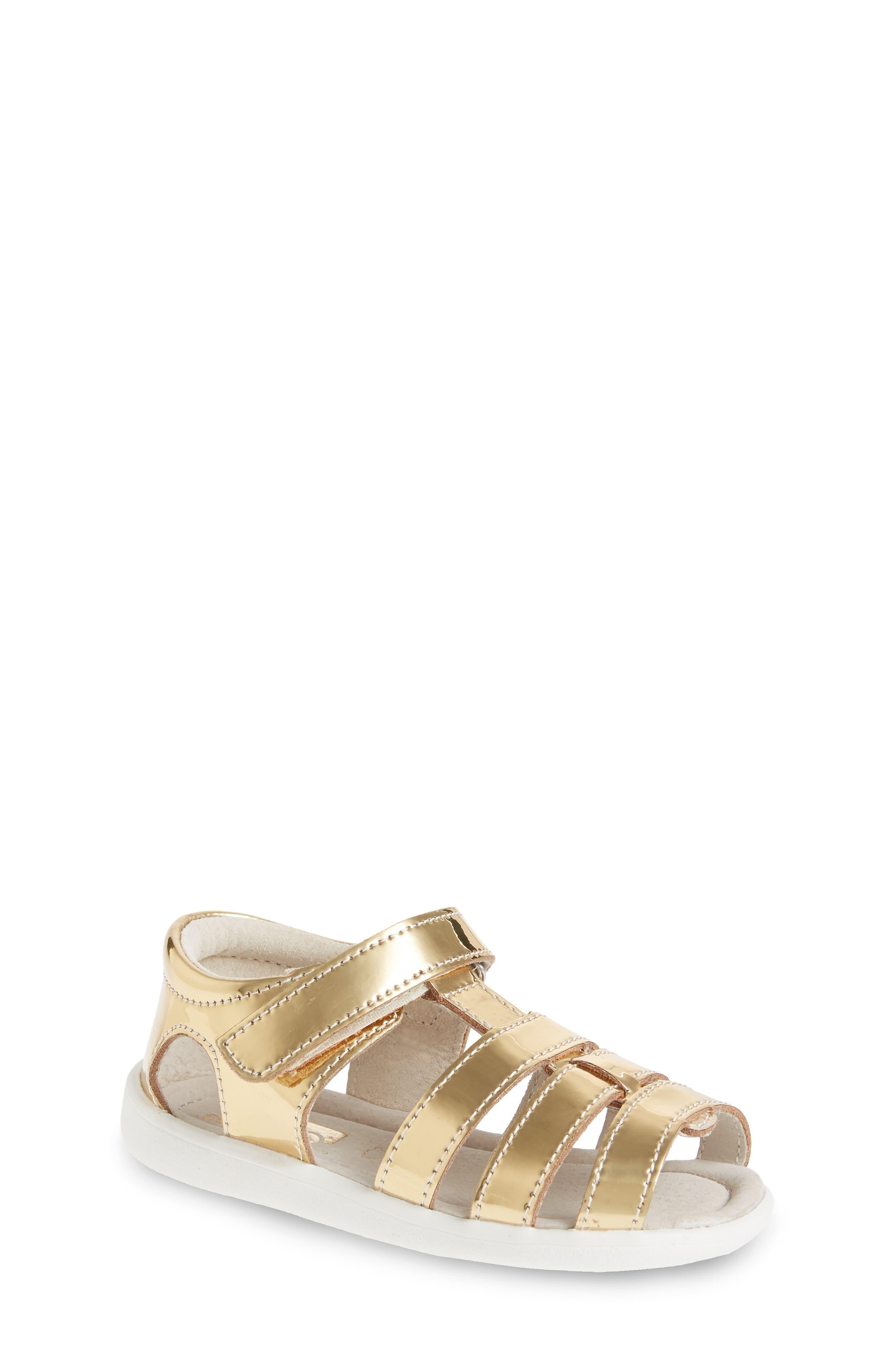 Main Image - See Kai Run 'Fe' Metallic Leather Gladiator Sandal (Baby, Walker & Toddler)