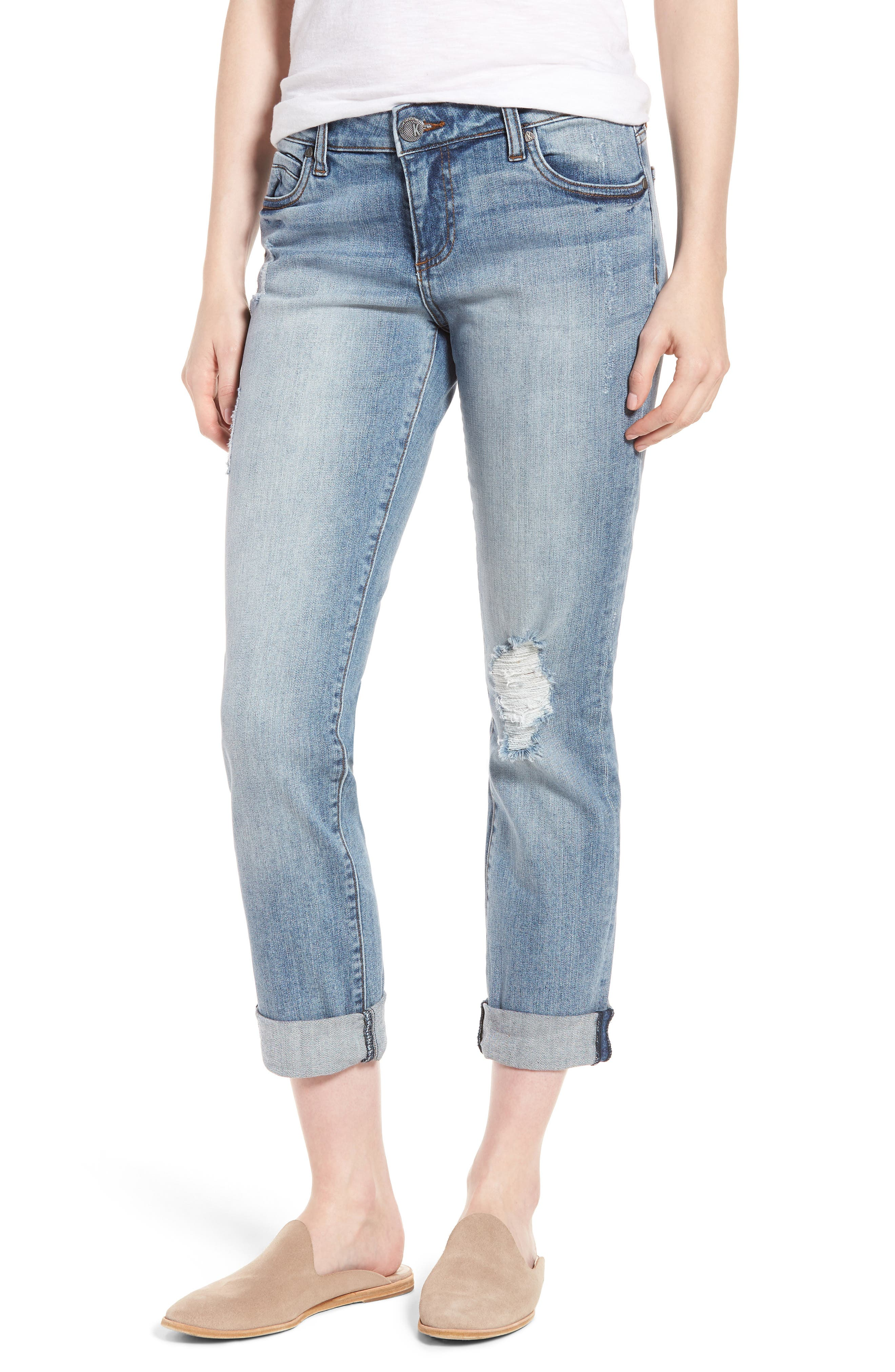 Alternate Image 1 Selected - KUT from the Kloth Catherine Distressed Boyfriend Jeans (Announce)