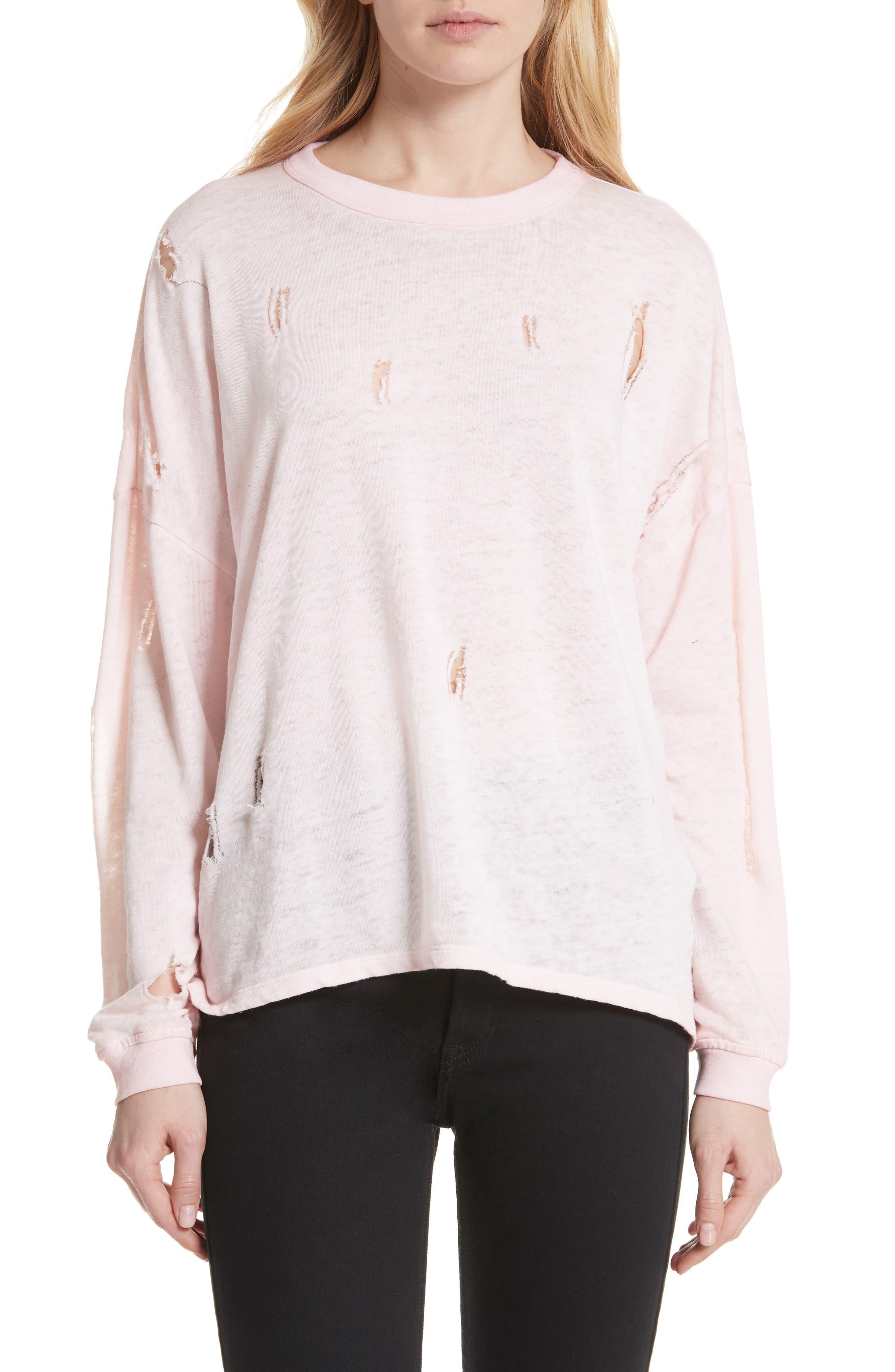 Lyzza Distressed Sweatshirt,                             Main thumbnail 1, color,                             Pink Sand