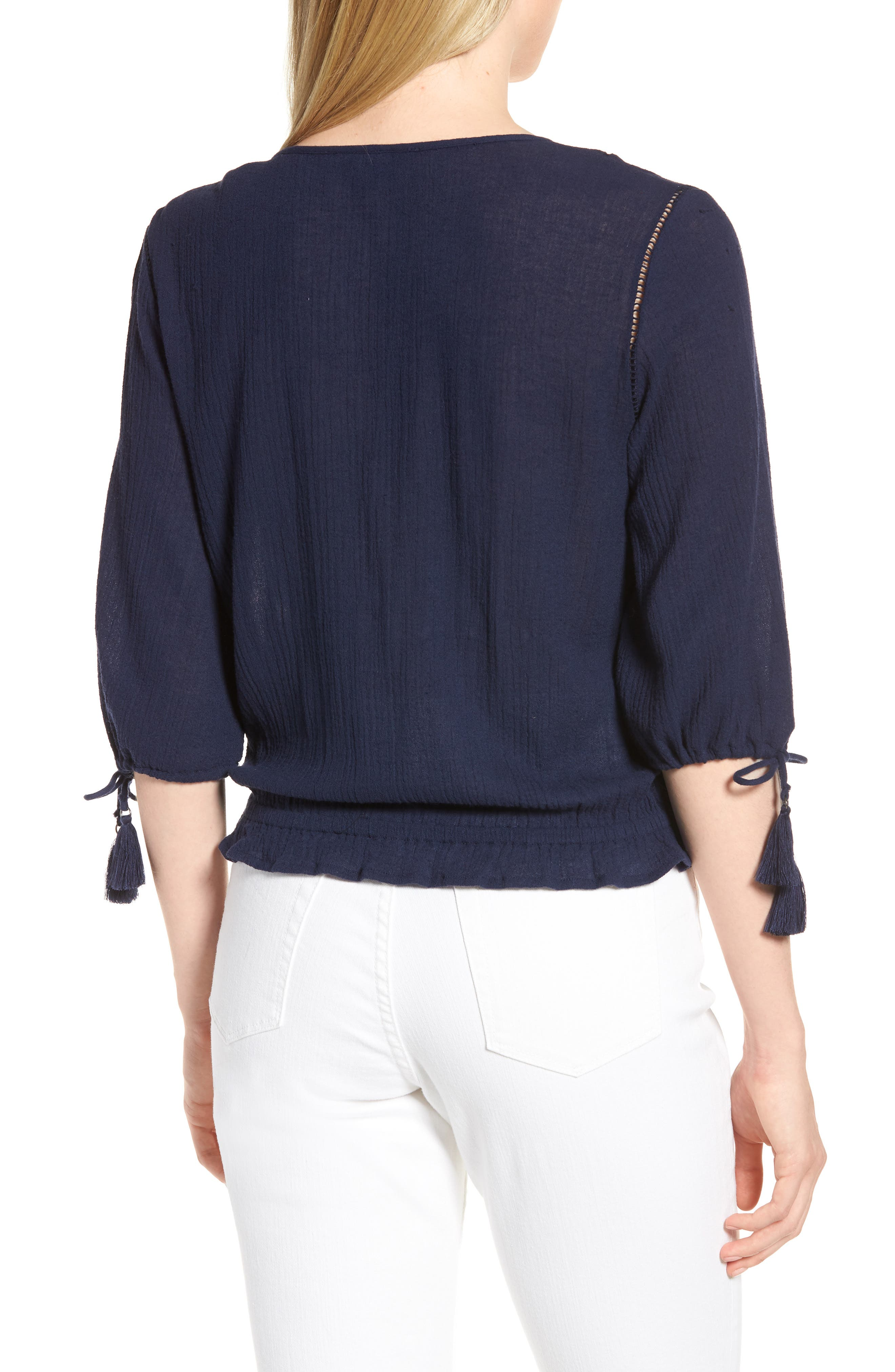Embroidered Cotton Tassel Top,                             Alternate thumbnail 2, color,                             American Navy