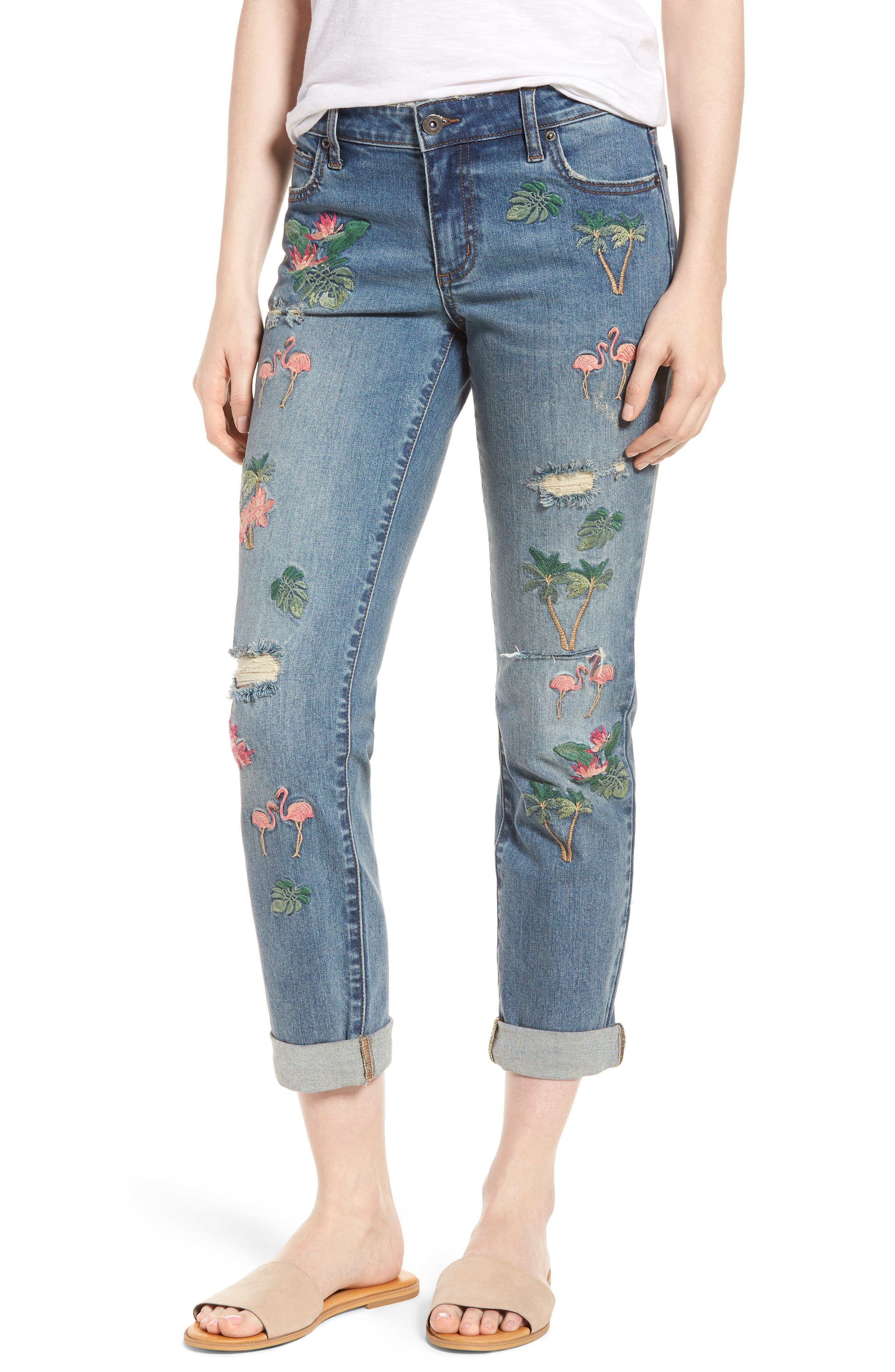 Flamingo Embroidery Jeans,                             Main thumbnail 1, color,                             Blue W/ Embroider