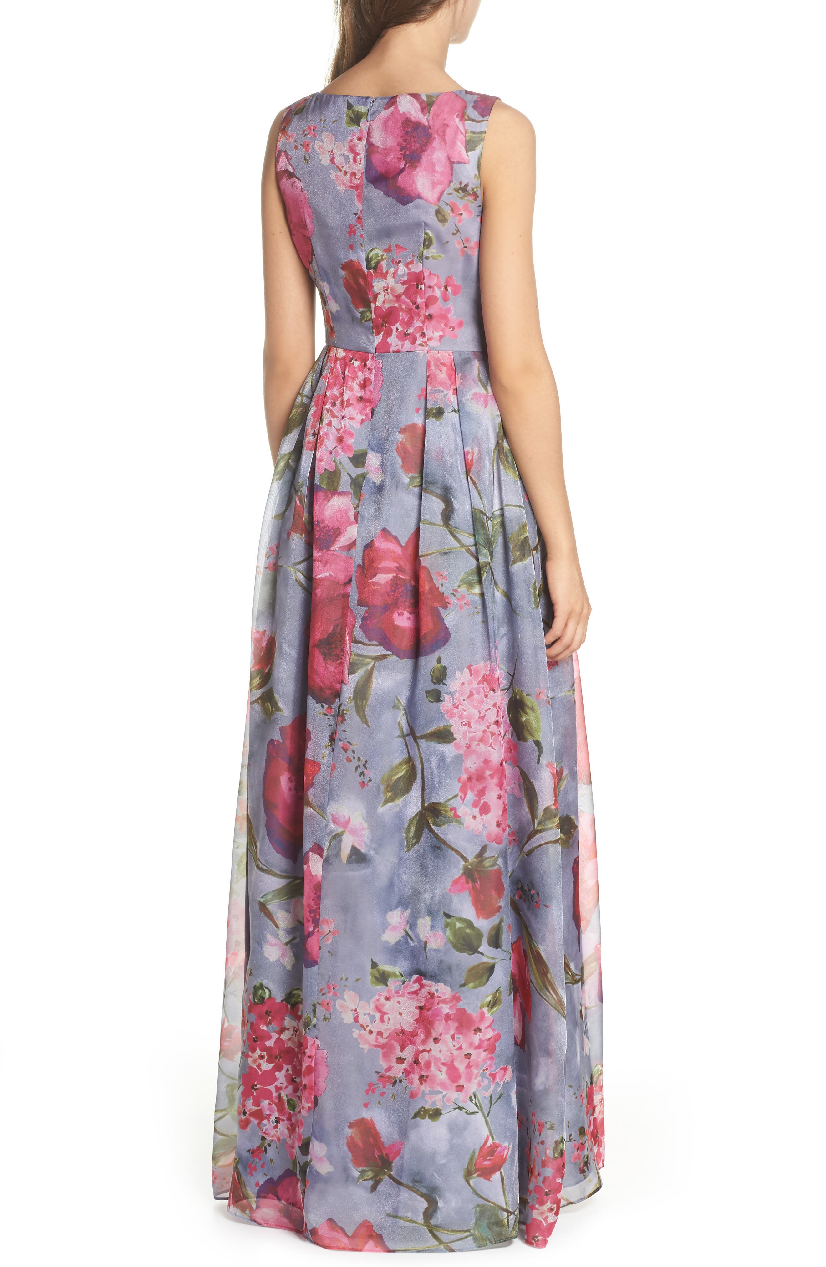 Flower Print Organza Gown,                             Alternate thumbnail 2, color,                             Dove Grey Multi