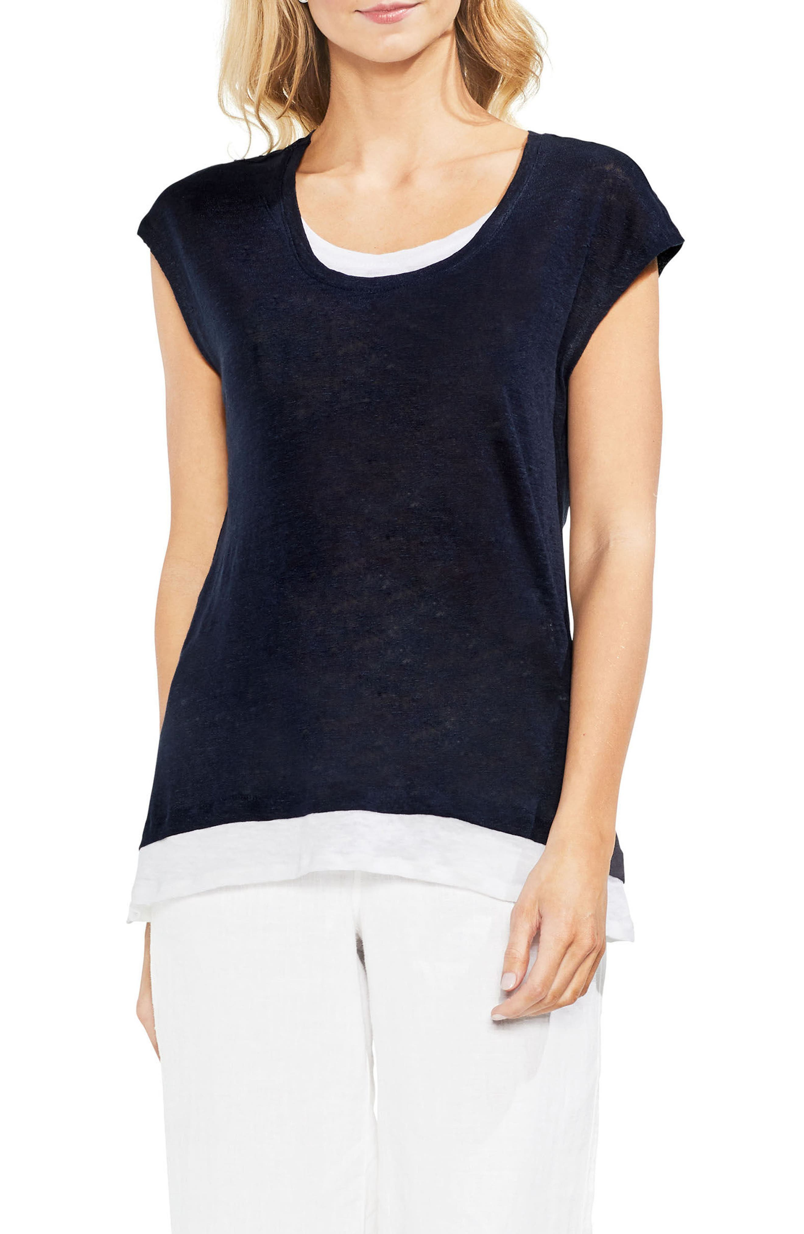 Vince Camuto Layered Look Scoop Neck Tee