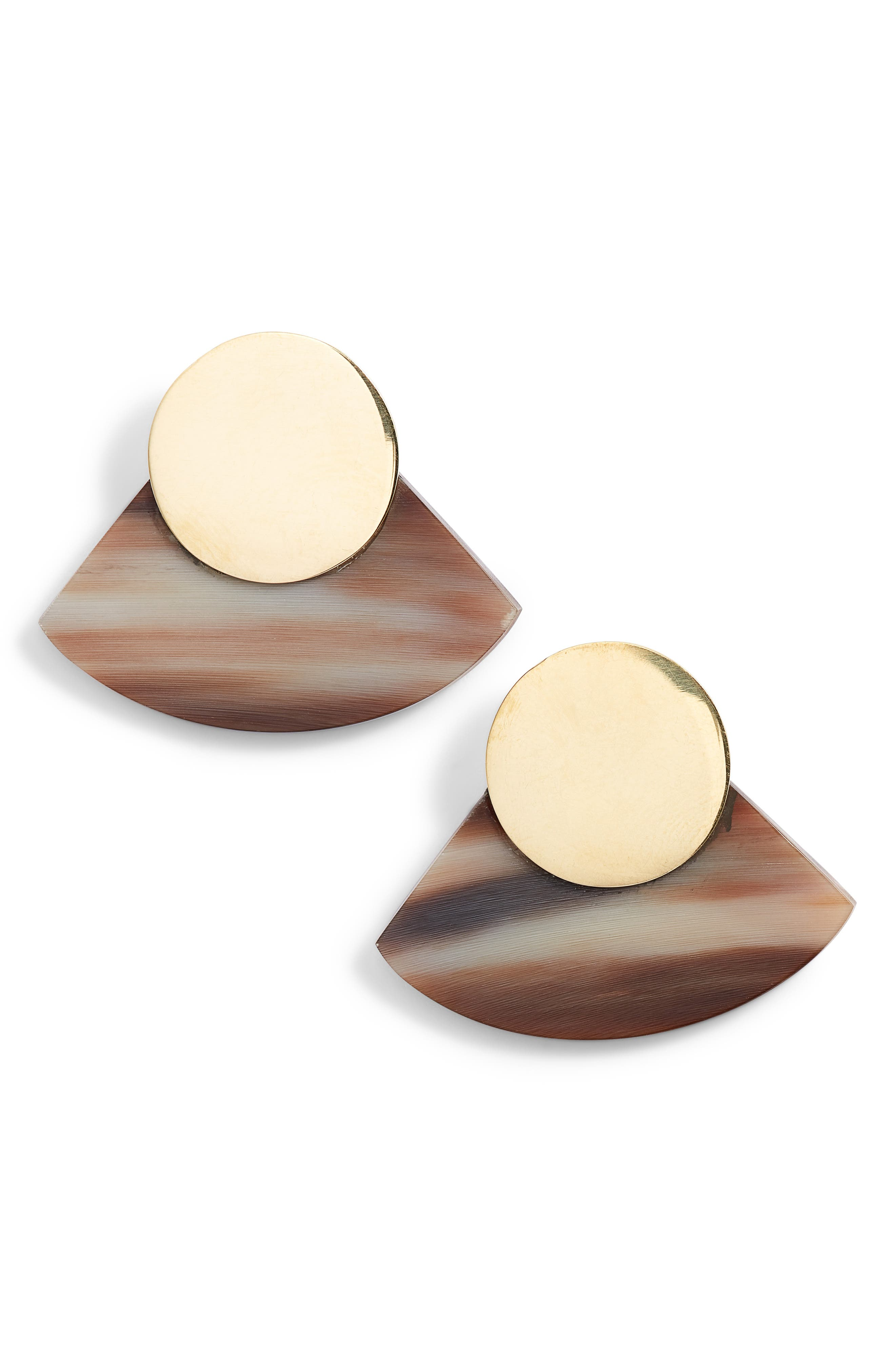 Horn Paddle Stud Earrings,                         Main,                         color, Natural/ Brass