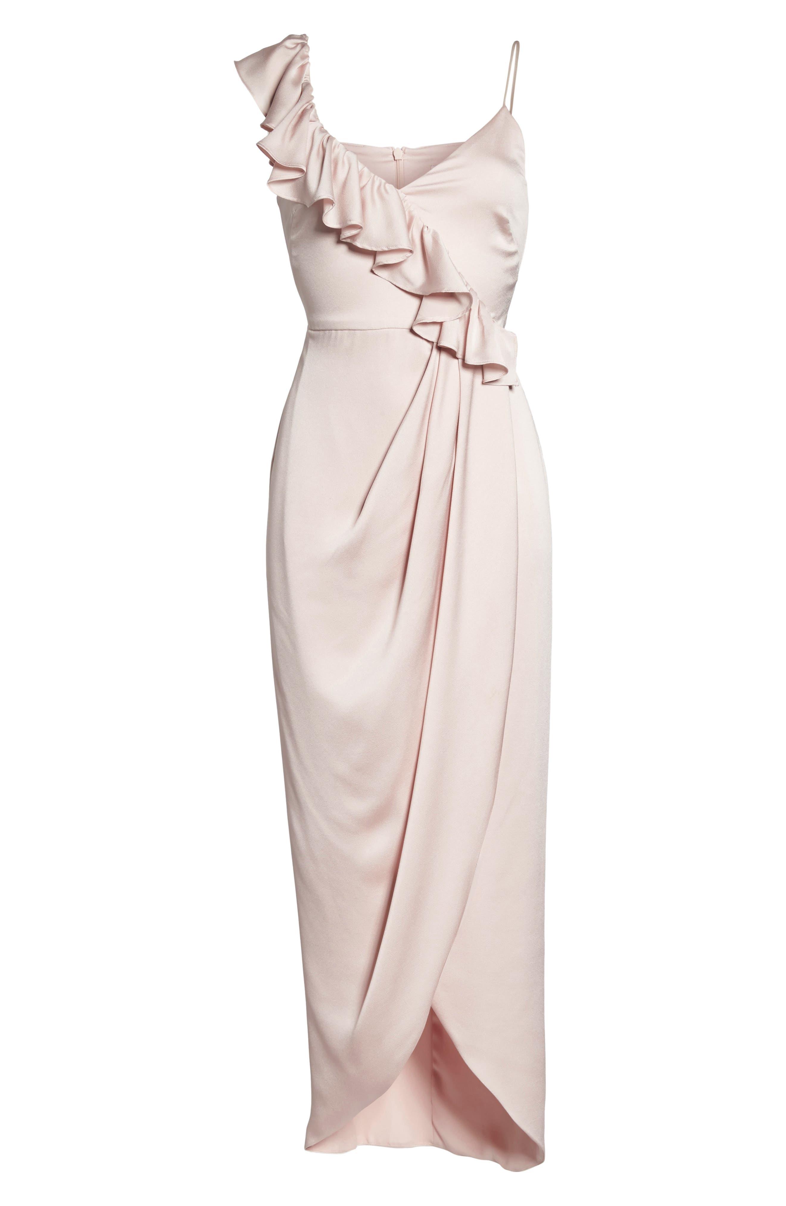 Luxe Asymmetrical Frill Maxi Dress,                             Alternate thumbnail 12, color,                             Porcelain