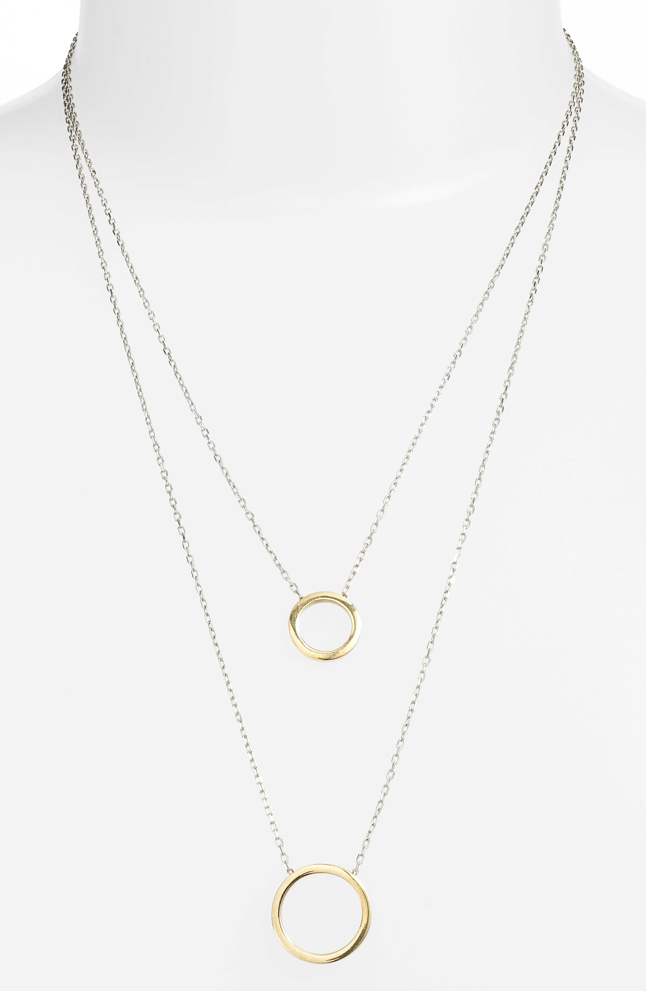Ava Two Tone Open Circle Necklace,                             Alternate thumbnail 2, color,                             Gold/ Silver