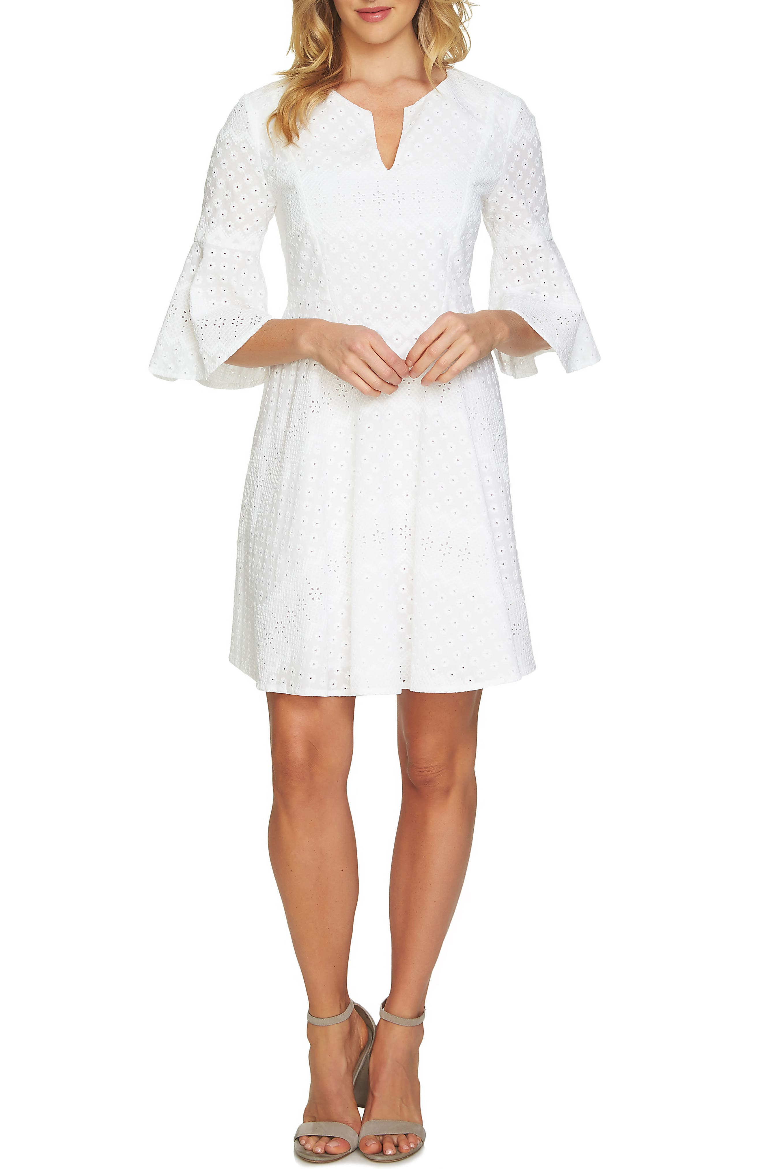 Bell Sleeve Eyelet A-Line Dress,                             Main thumbnail 1, color,                             Ultra White