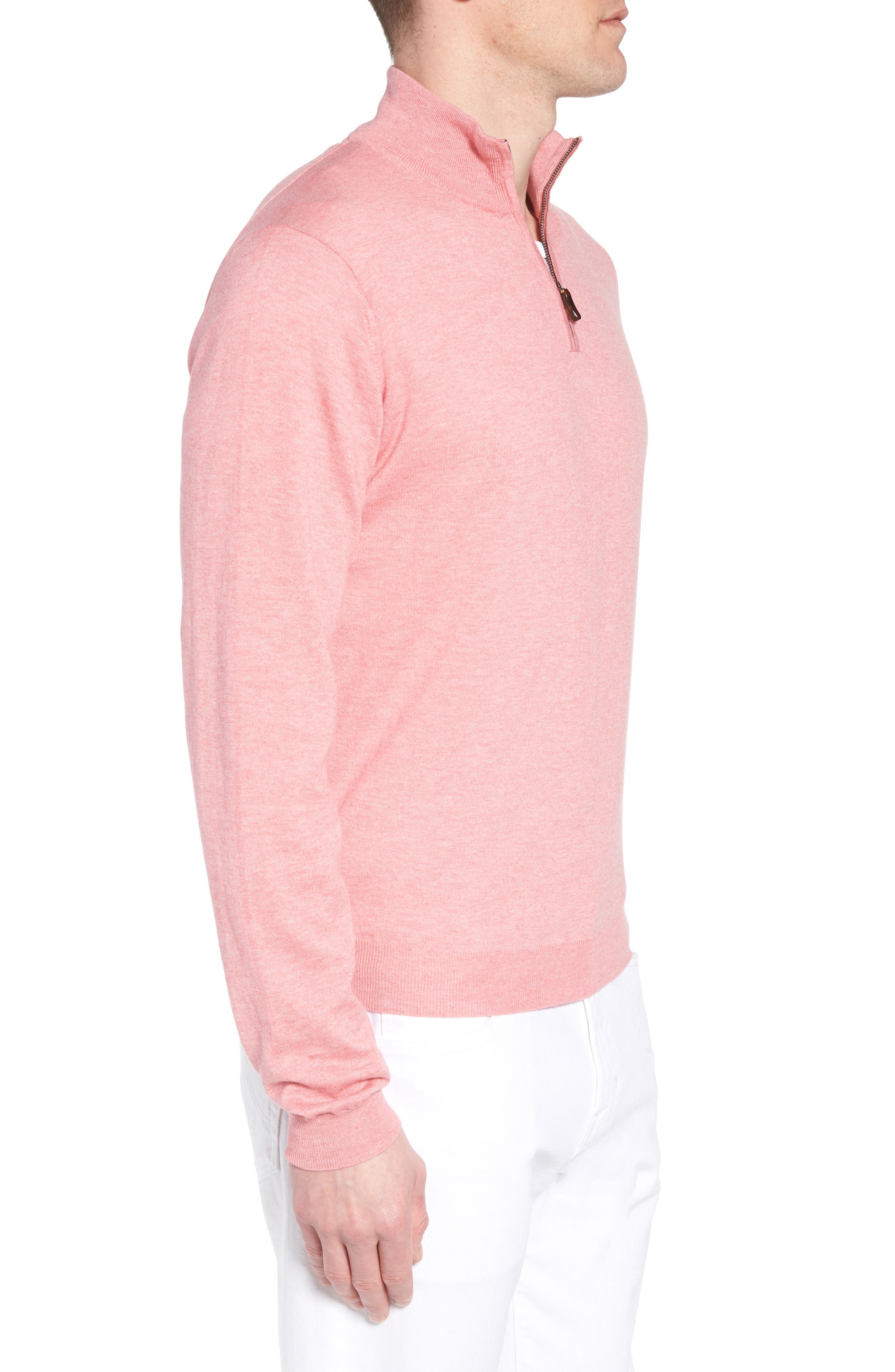 Cotton & Silk Quarter Zip Pullover,                             Alternate thumbnail 3, color,                             Pink