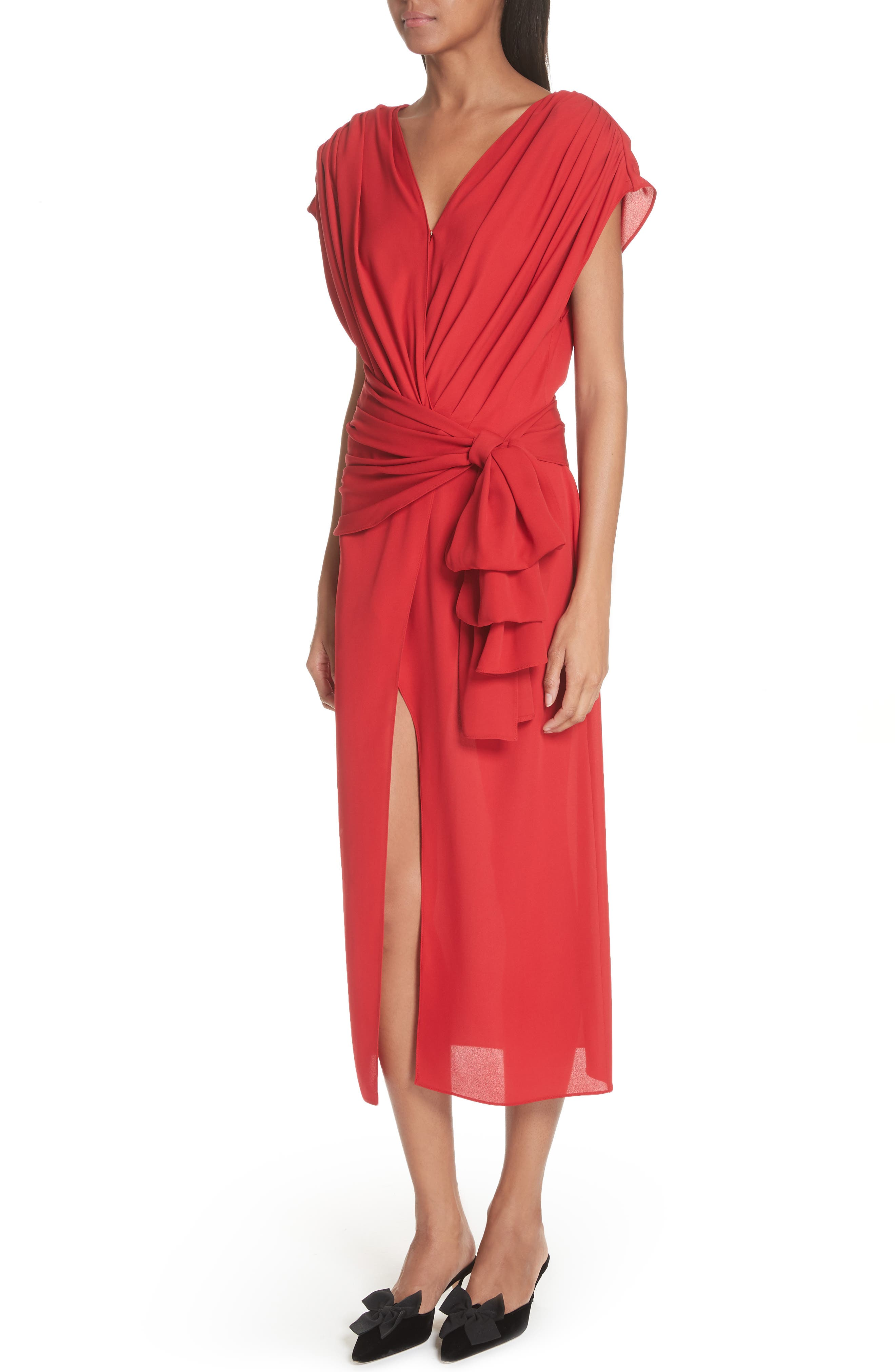 Tie Waist Silk Dress,                             Alternate thumbnail 4, color,                             Red