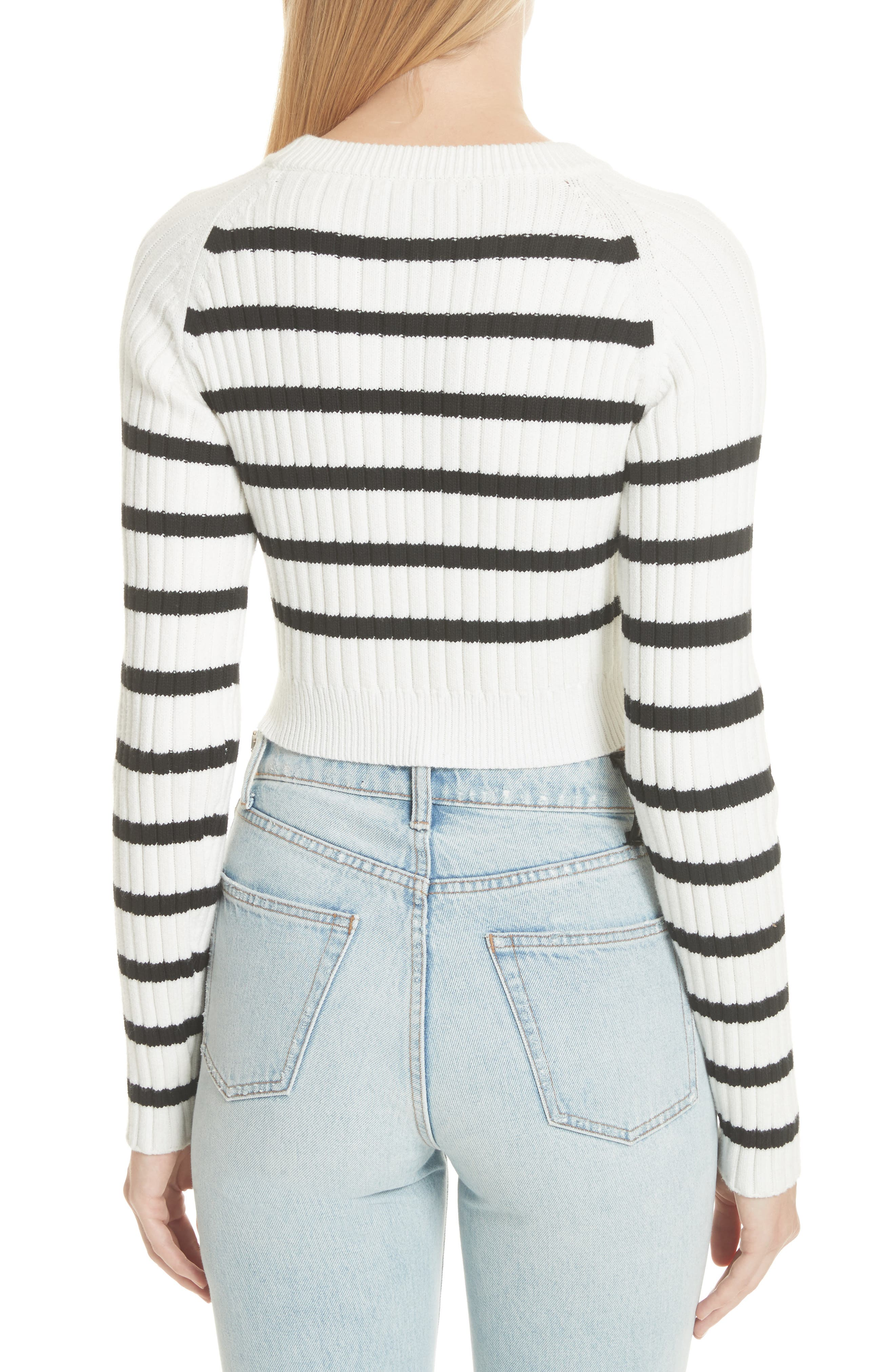 Multistripe Crop Sweater,                             Alternate thumbnail 2, color,                             White/ Black