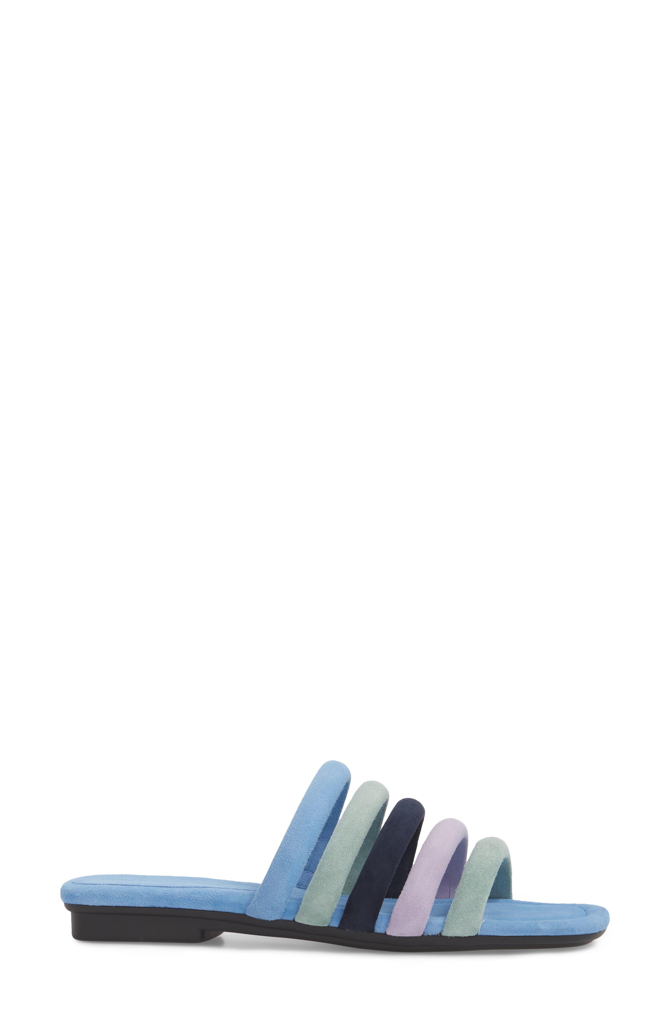 Kip Slide Sandal,                             Alternate thumbnail 3, color,                             Sage/ Blue Leather