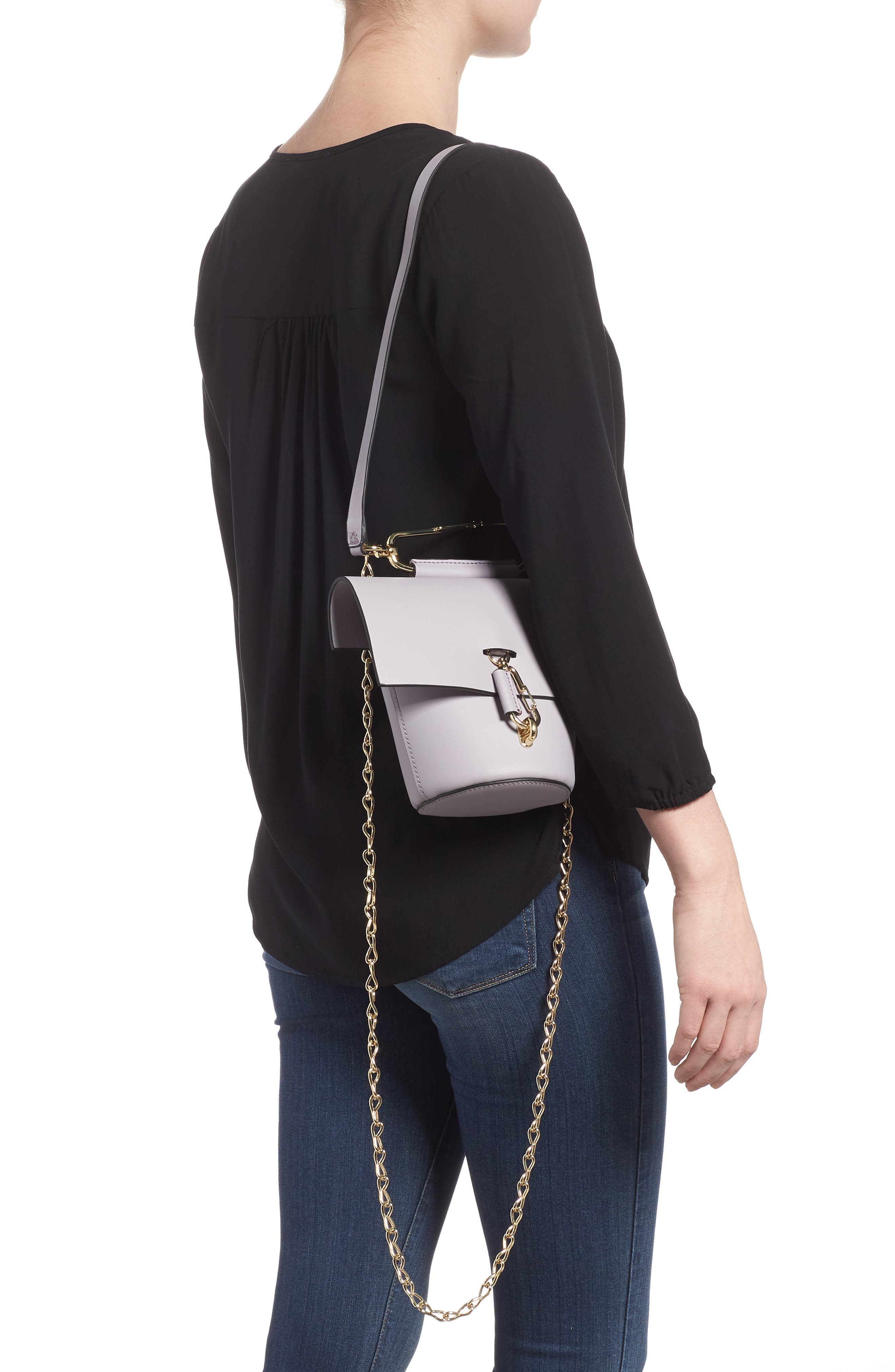 Belay Chain Calfskin Leather Crossbody Bag,                             Alternate thumbnail 2, color,                             Violet