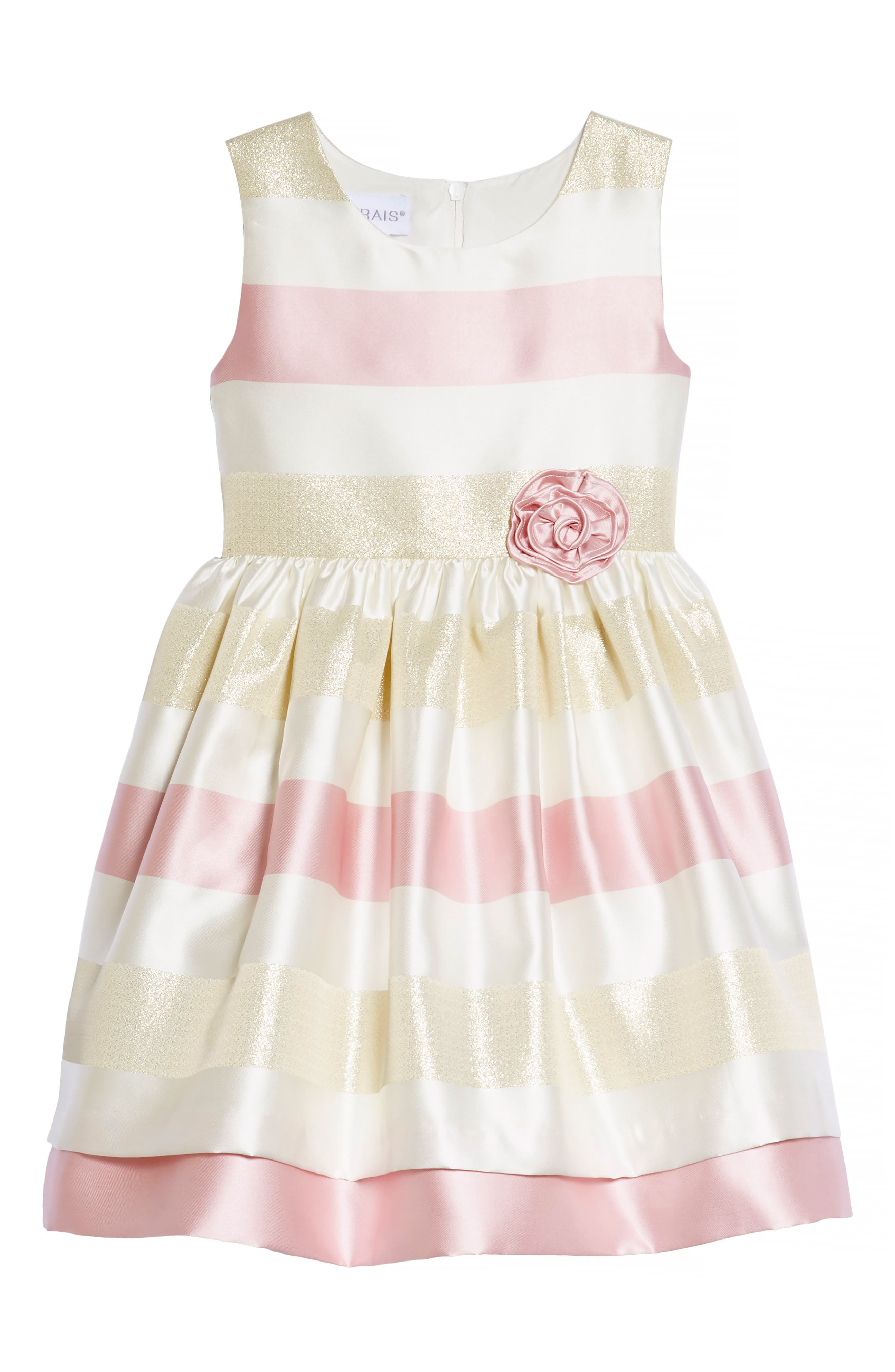 Metallic Stripe Fit & Flare Dress,                         Main,                         color, Pink/ Ivory