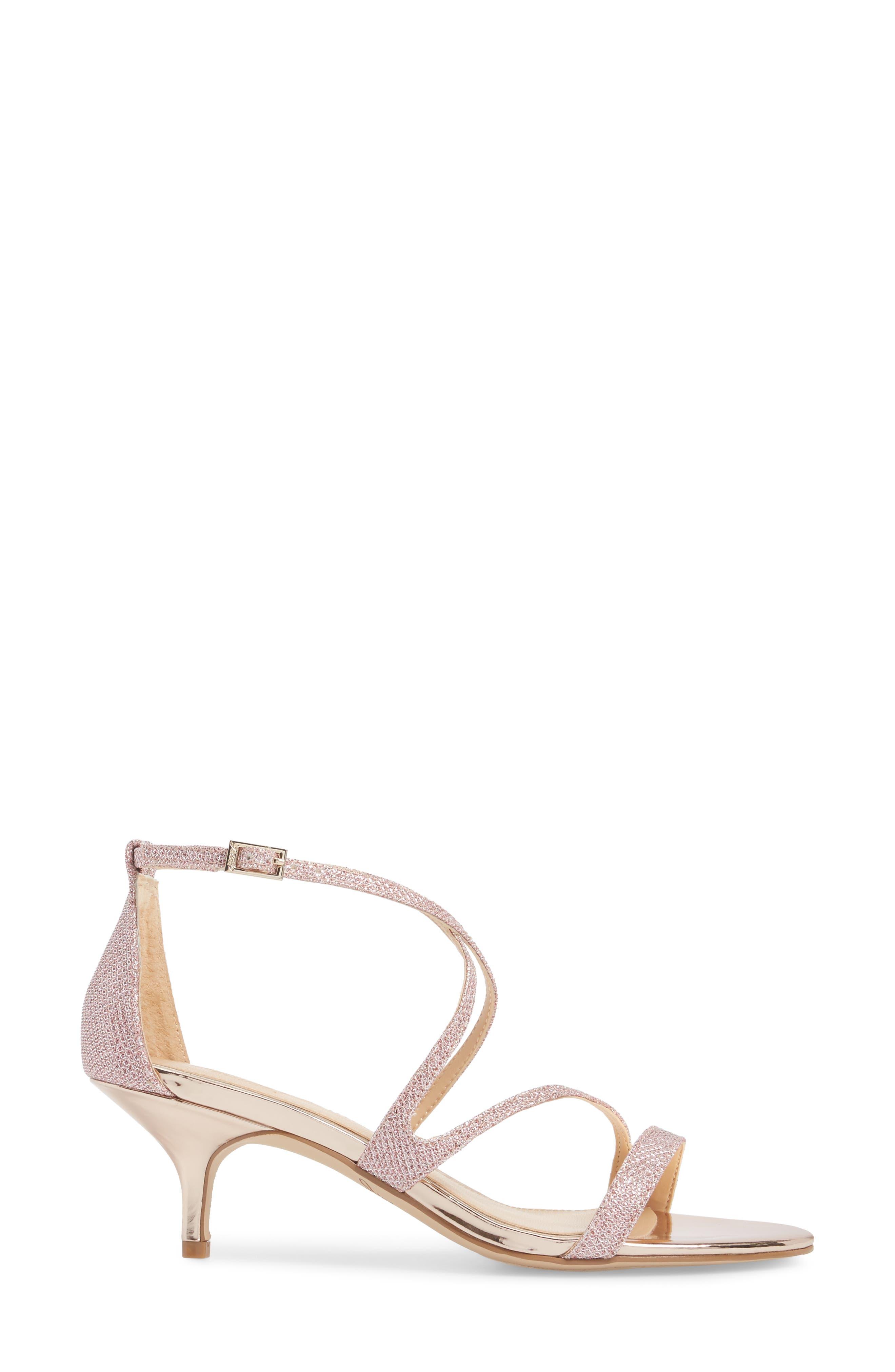 Gal Glitter Kitten Heel Sandal,                             Alternate thumbnail 3, color,                             Rose Gold Glitter Fabric