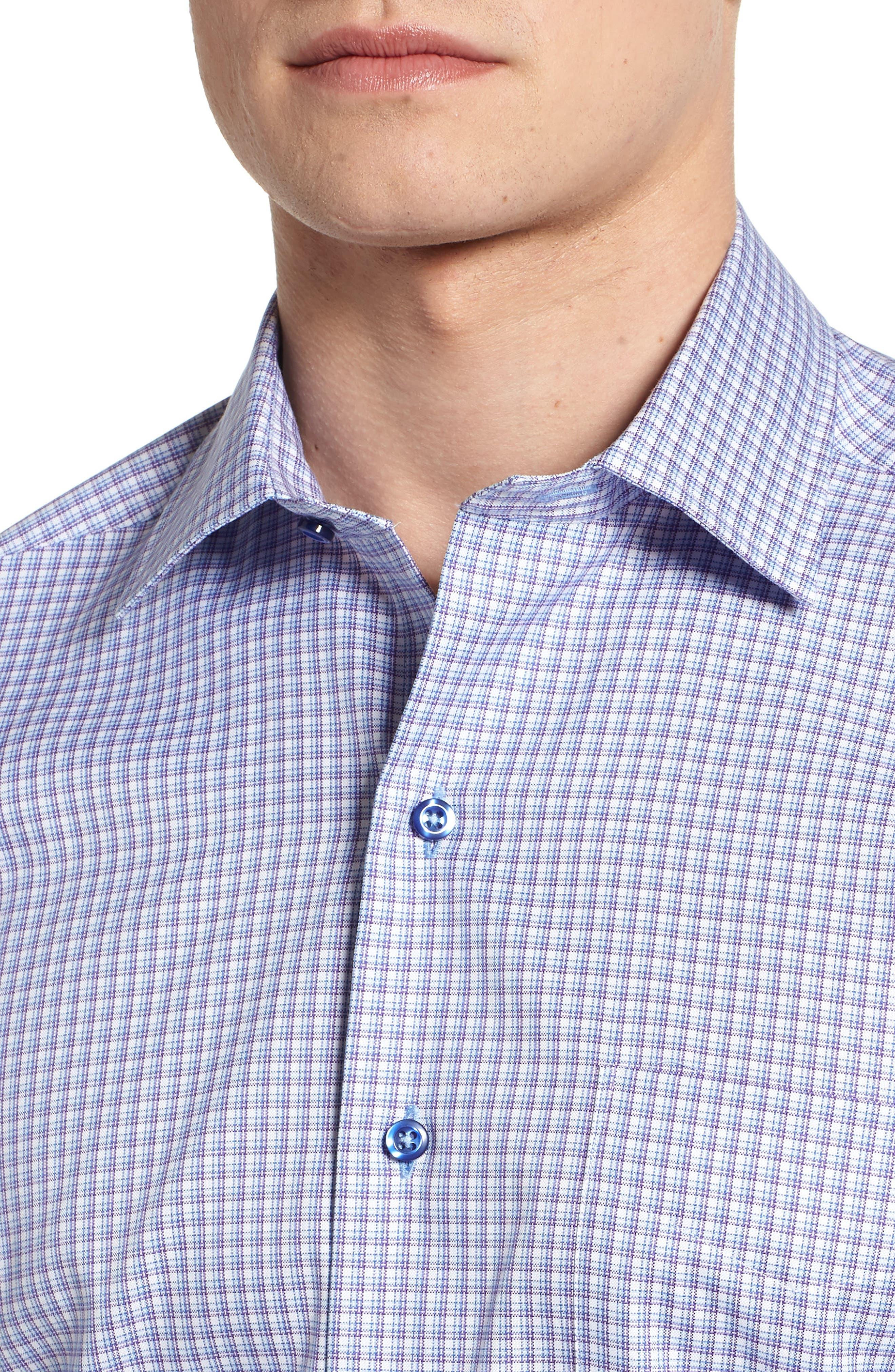 Sport Shirt,                             Alternate thumbnail 4, color,                             Blue/ Purple