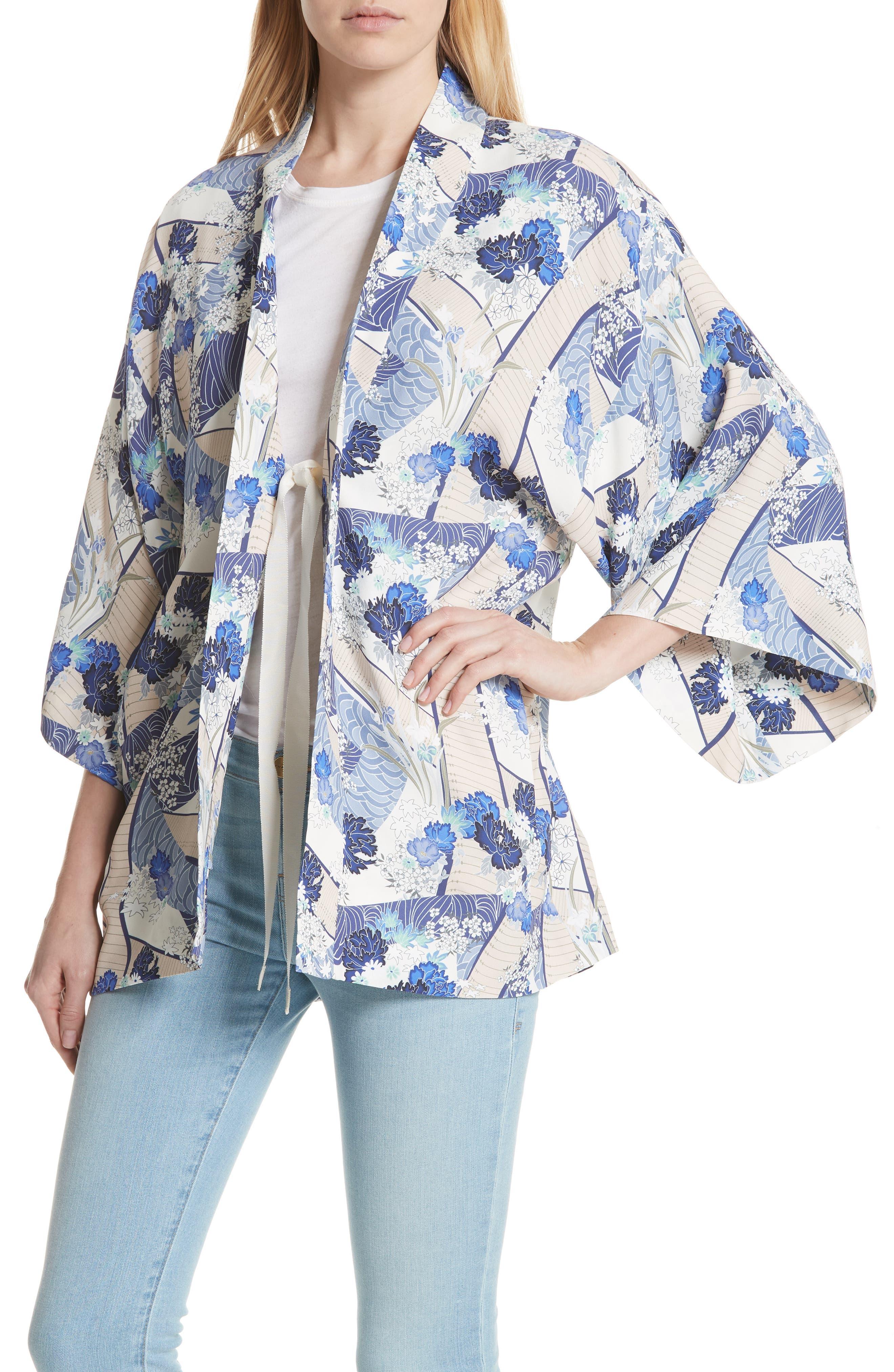 Drew Floral Print Kimono Jacket,                             Alternate thumbnail 4, color,                             Blue Floral