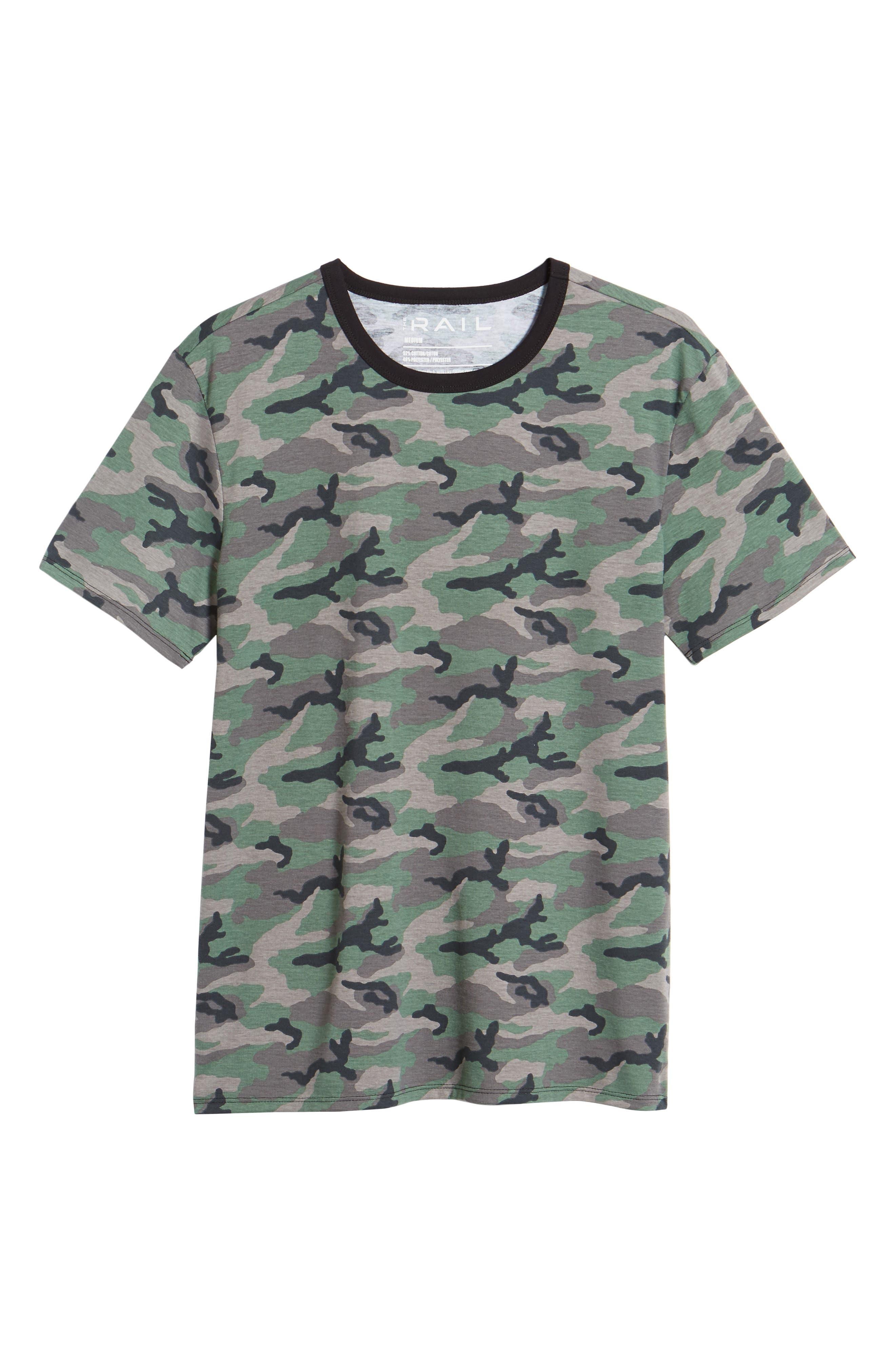 Camo Print Ringer T-Shirt,                             Alternate thumbnail 6, color,                             Brown Green Camo