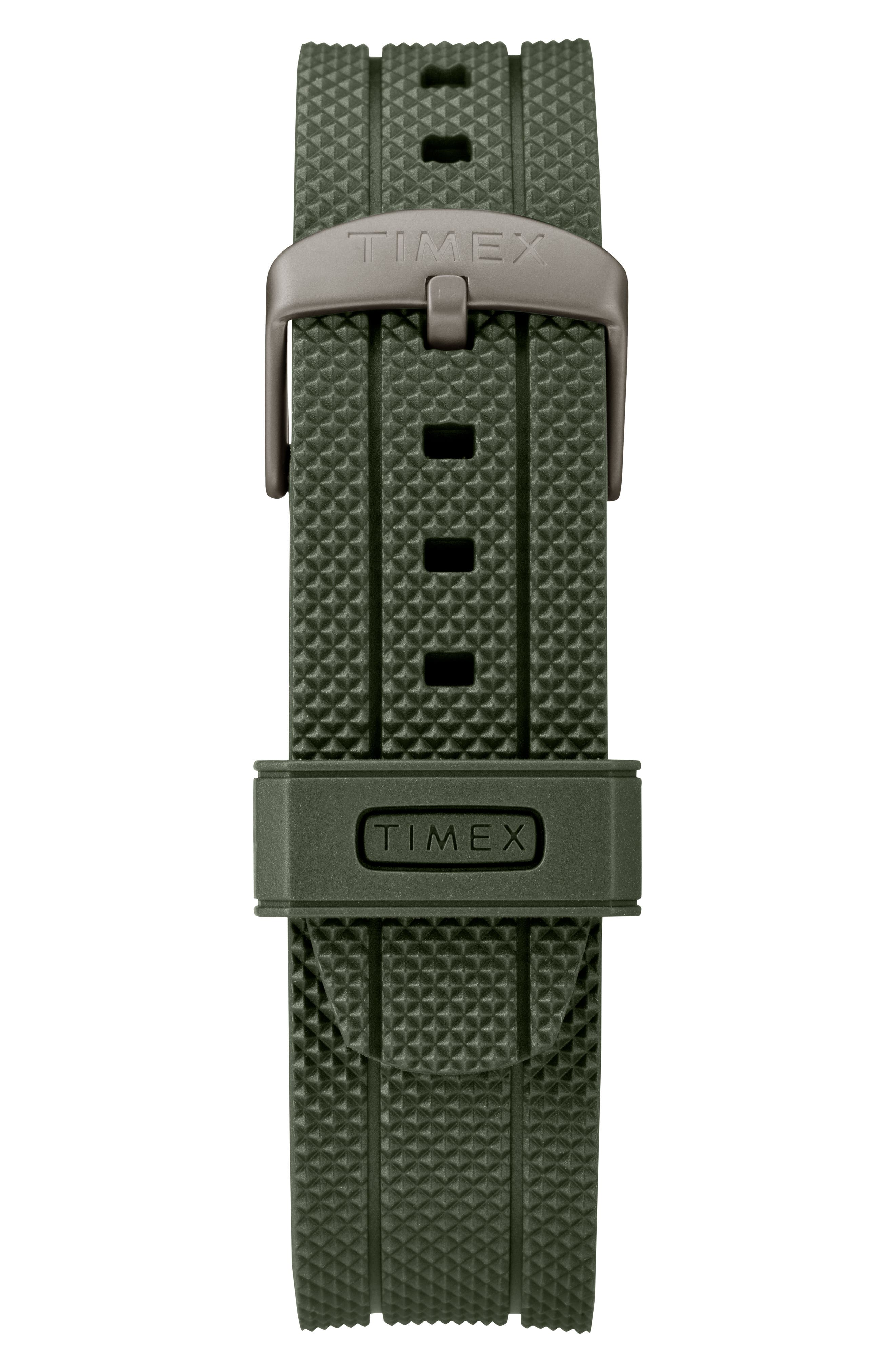 Allied Silicone Strap Watch, 43mm,                             Alternate thumbnail 3, color,                             Olive/ Grey