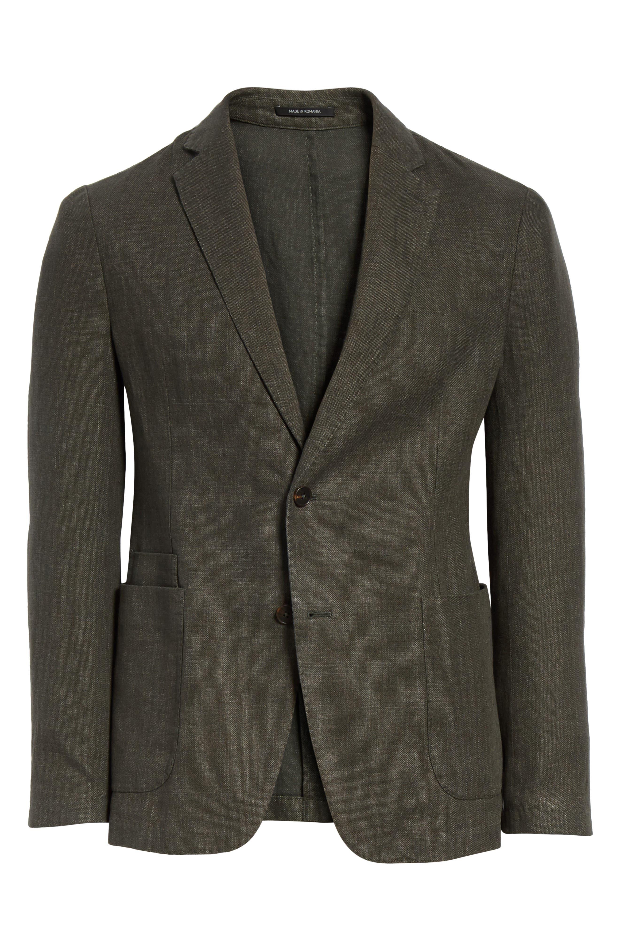 Trim Fit Linen & Cotton Blazer,                             Alternate thumbnail 6, color,                             Green