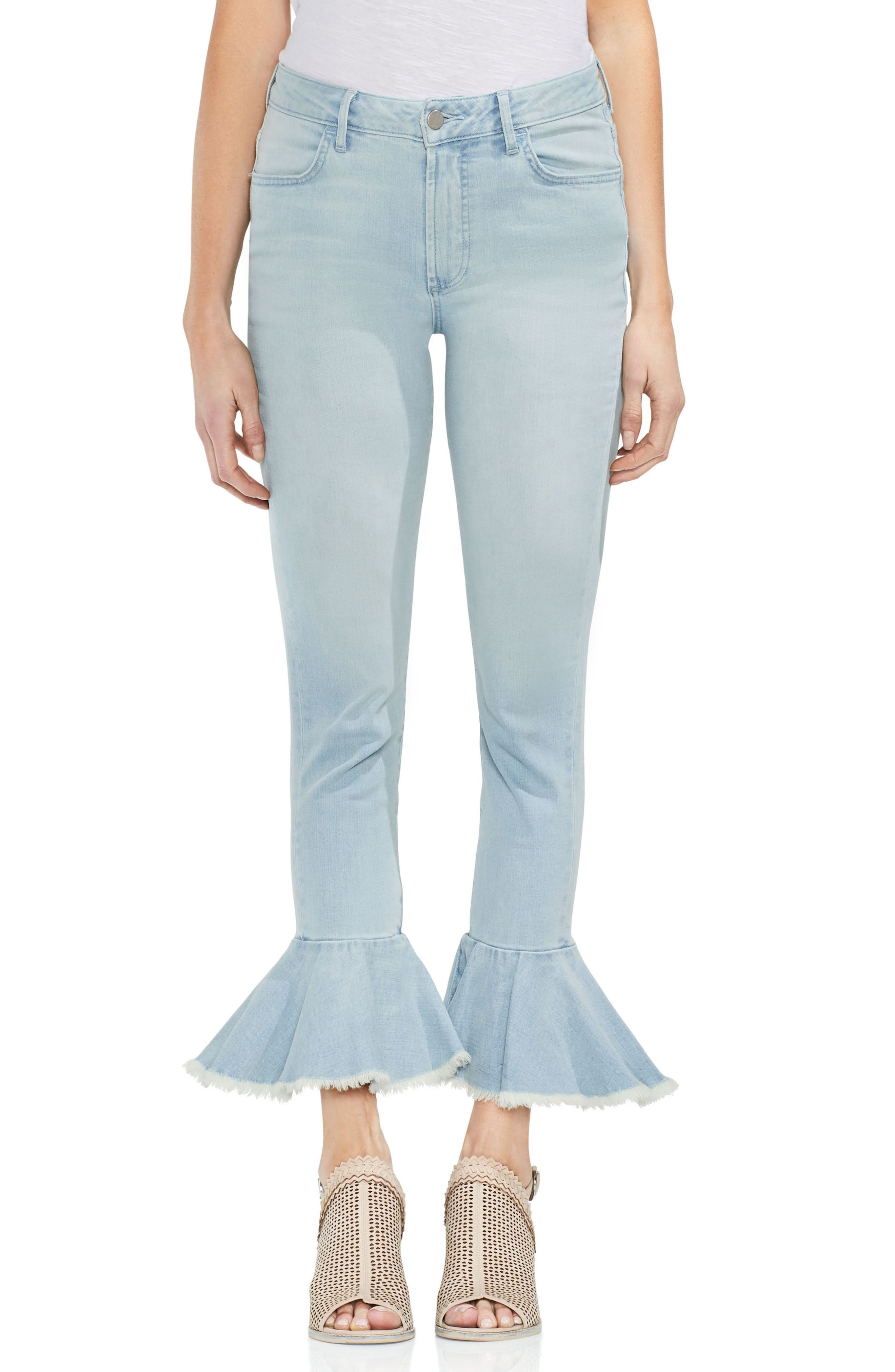 Vince Camuto Ruffle Hem Ankle Jeans (Surf)