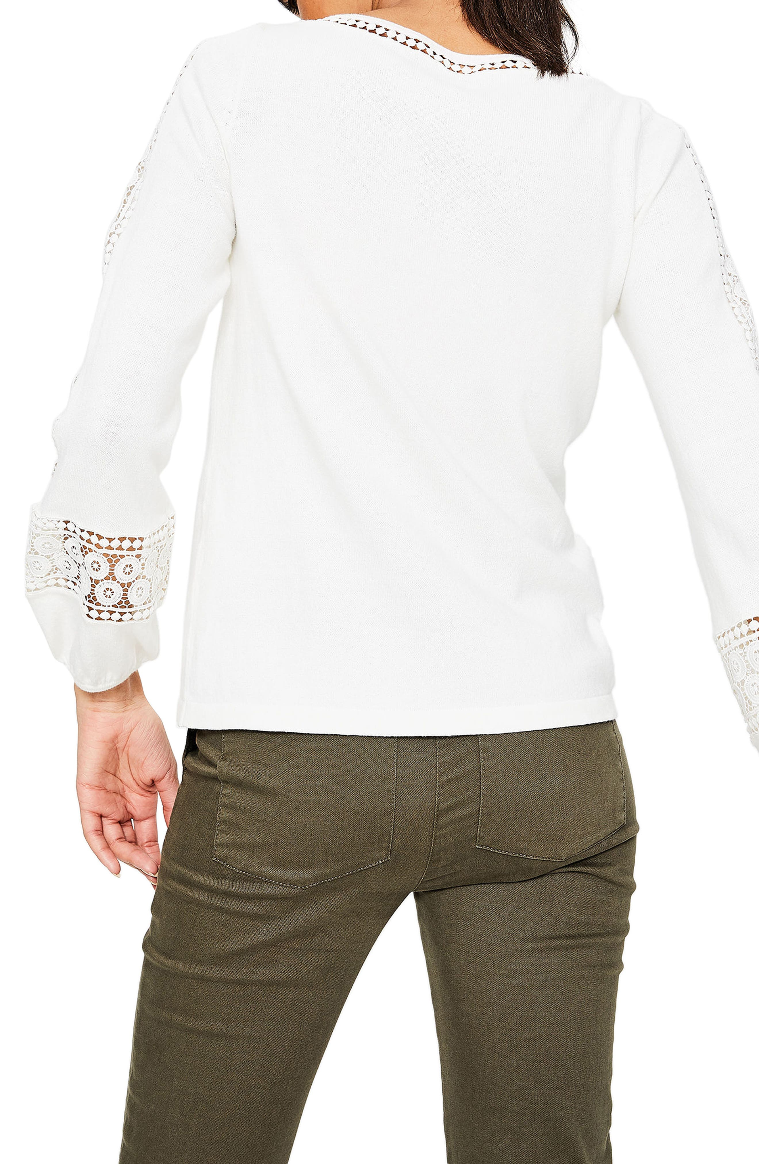 Lace Inset Cotton Sweater,                             Alternate thumbnail 2, color,                             Ivory