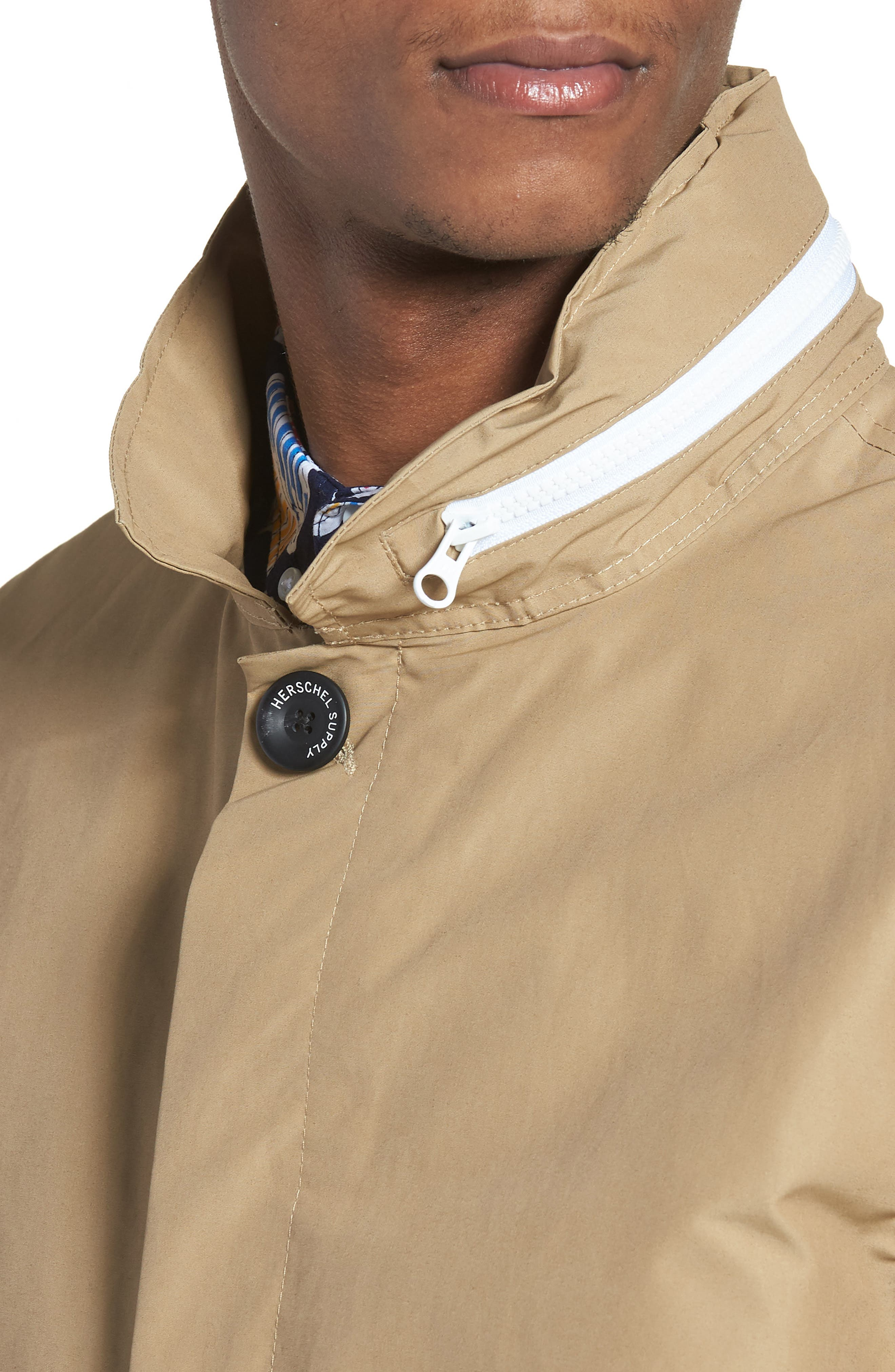 Stowaway Mac Jacket,                             Alternate thumbnail 4, color,                             Khaki/ Woodland Camo