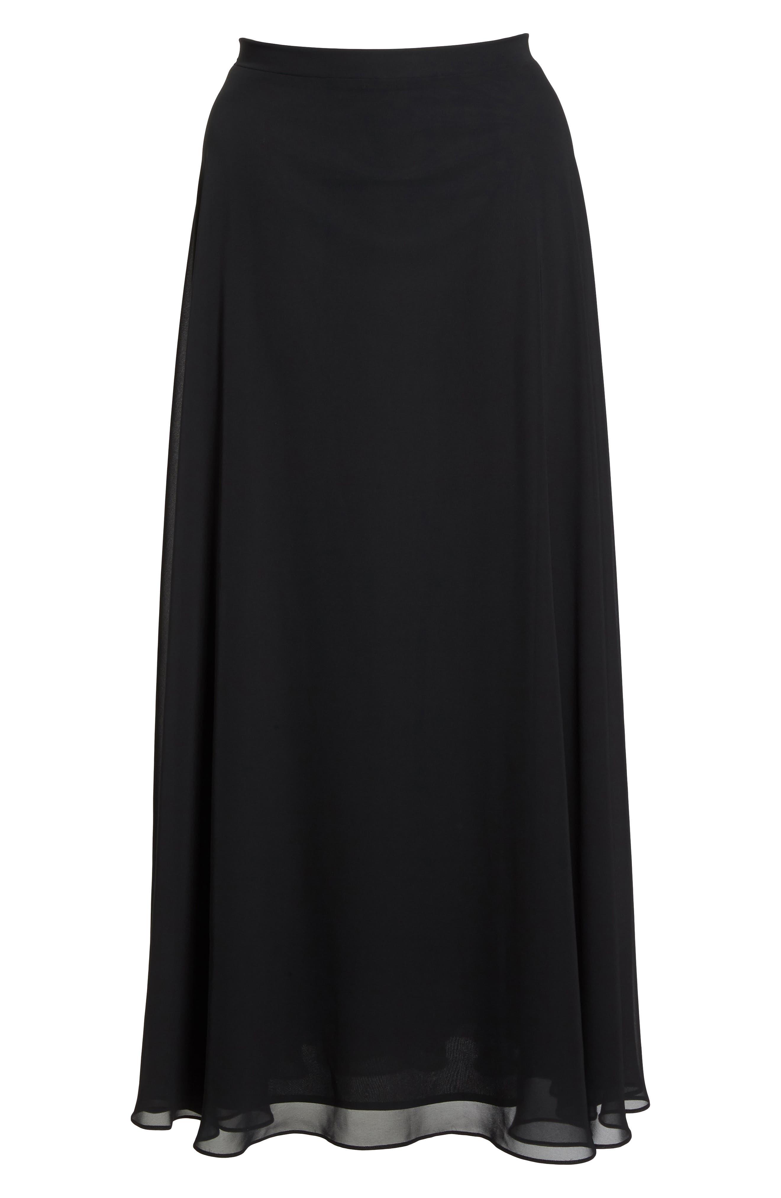 Long Circle Skirt,                             Alternate thumbnail 6, color,                             Black