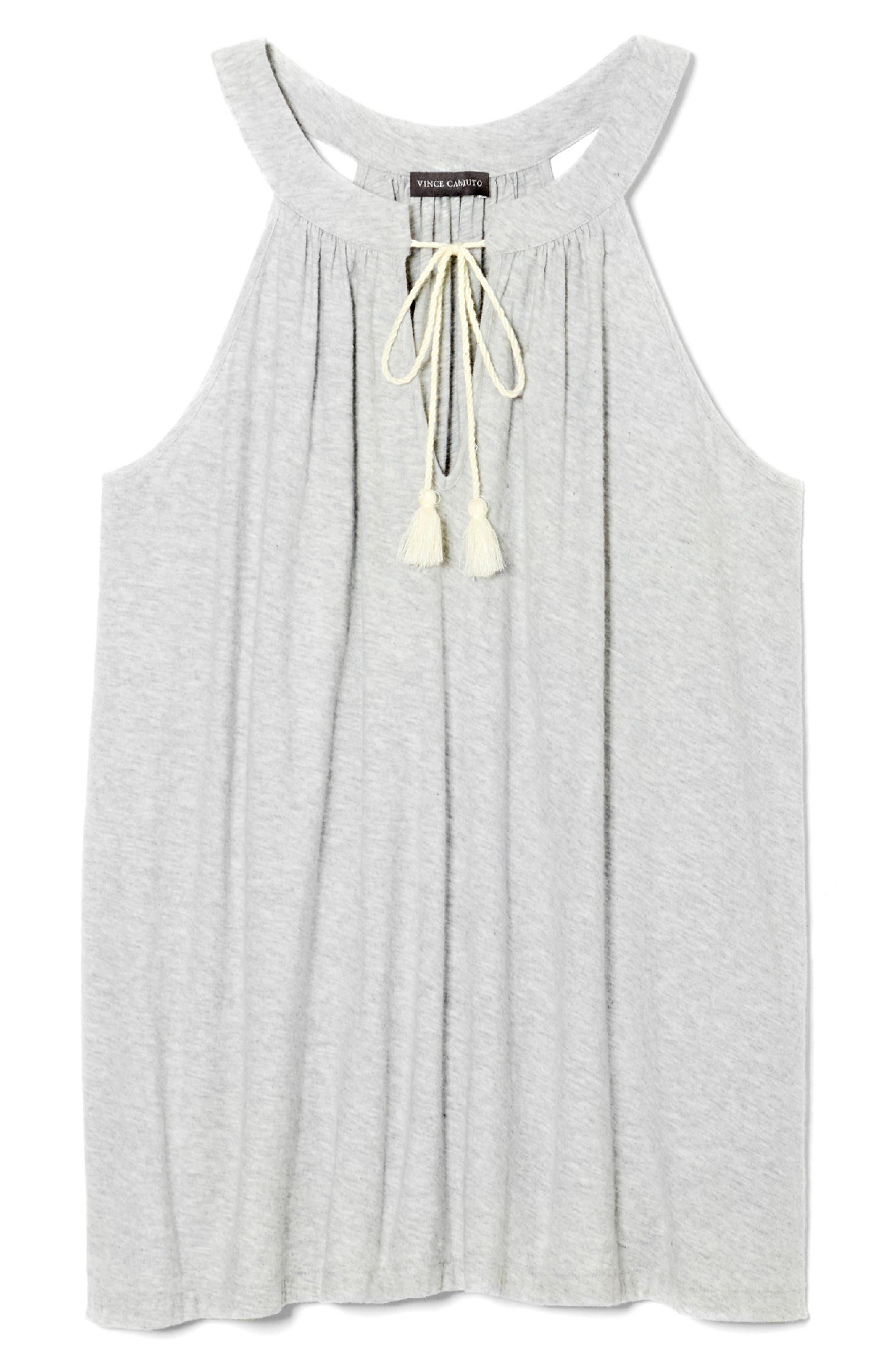 Tassel Neck Halter Cotton Top,                             Alternate thumbnail 3, color,                             Grey Heather