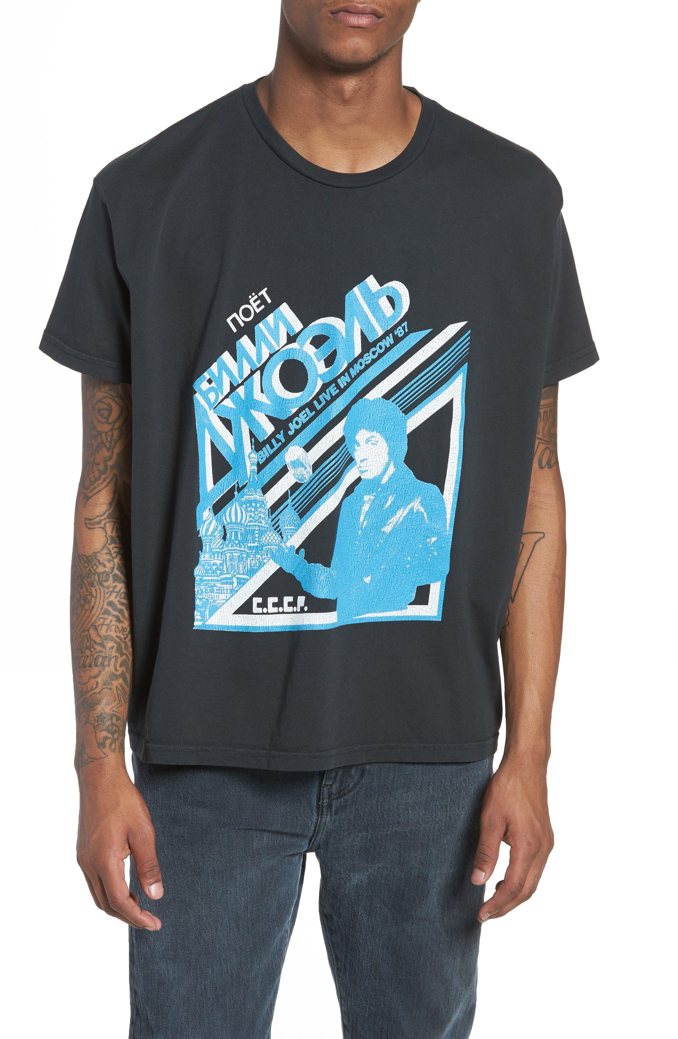 Billy Joel Moscow T-Shirt,                             Main thumbnail 1, color,                             Dusty Black