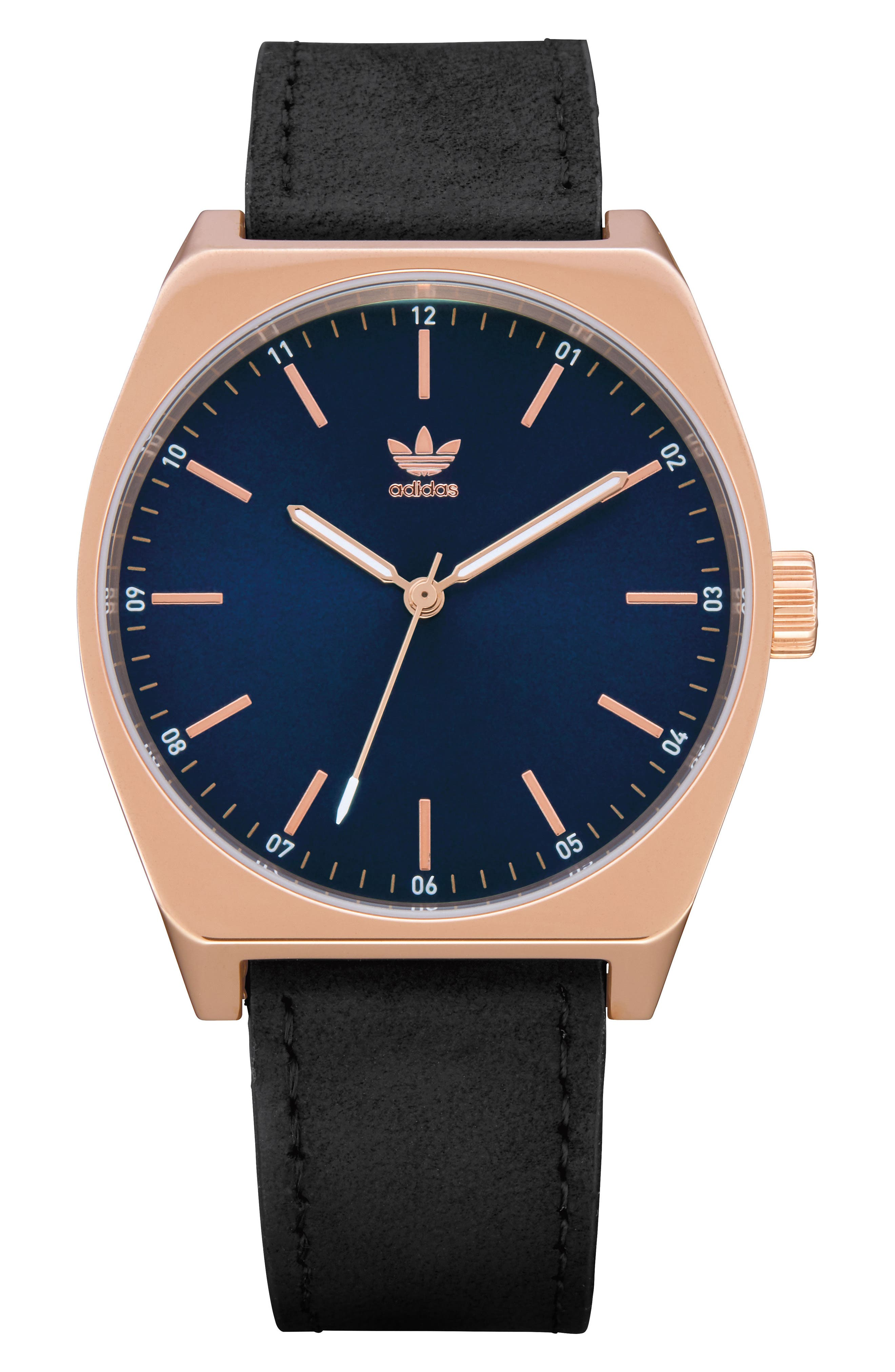 Process Leather Strap Watch, 38mm,                             Main thumbnail 1, color,                             Rose Gold/ Navy/ Black
