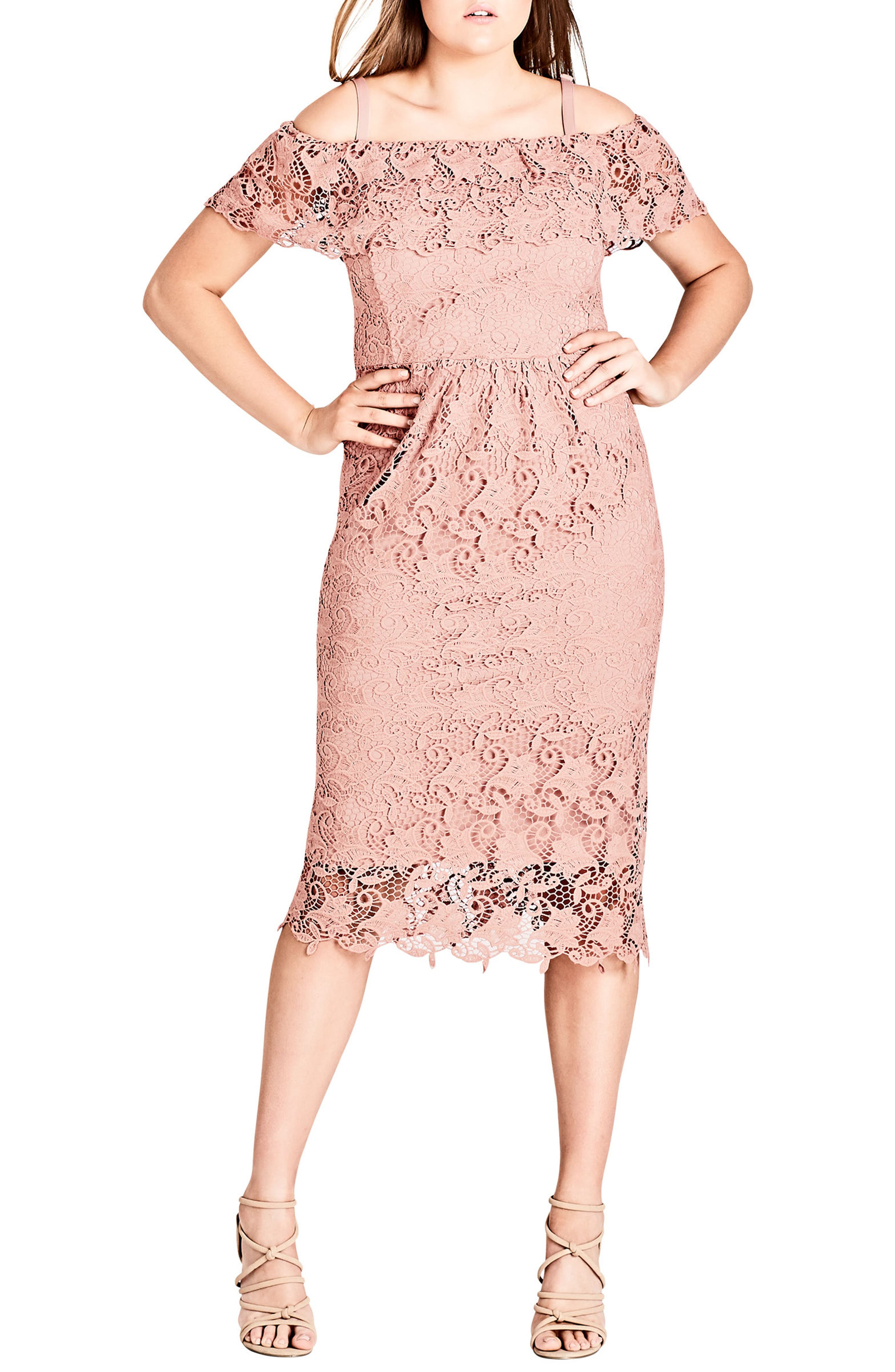 Spring Day Off the Shoulder Lace Sheath Dress,                             Main thumbnail 1, color,                             Ballet Pink