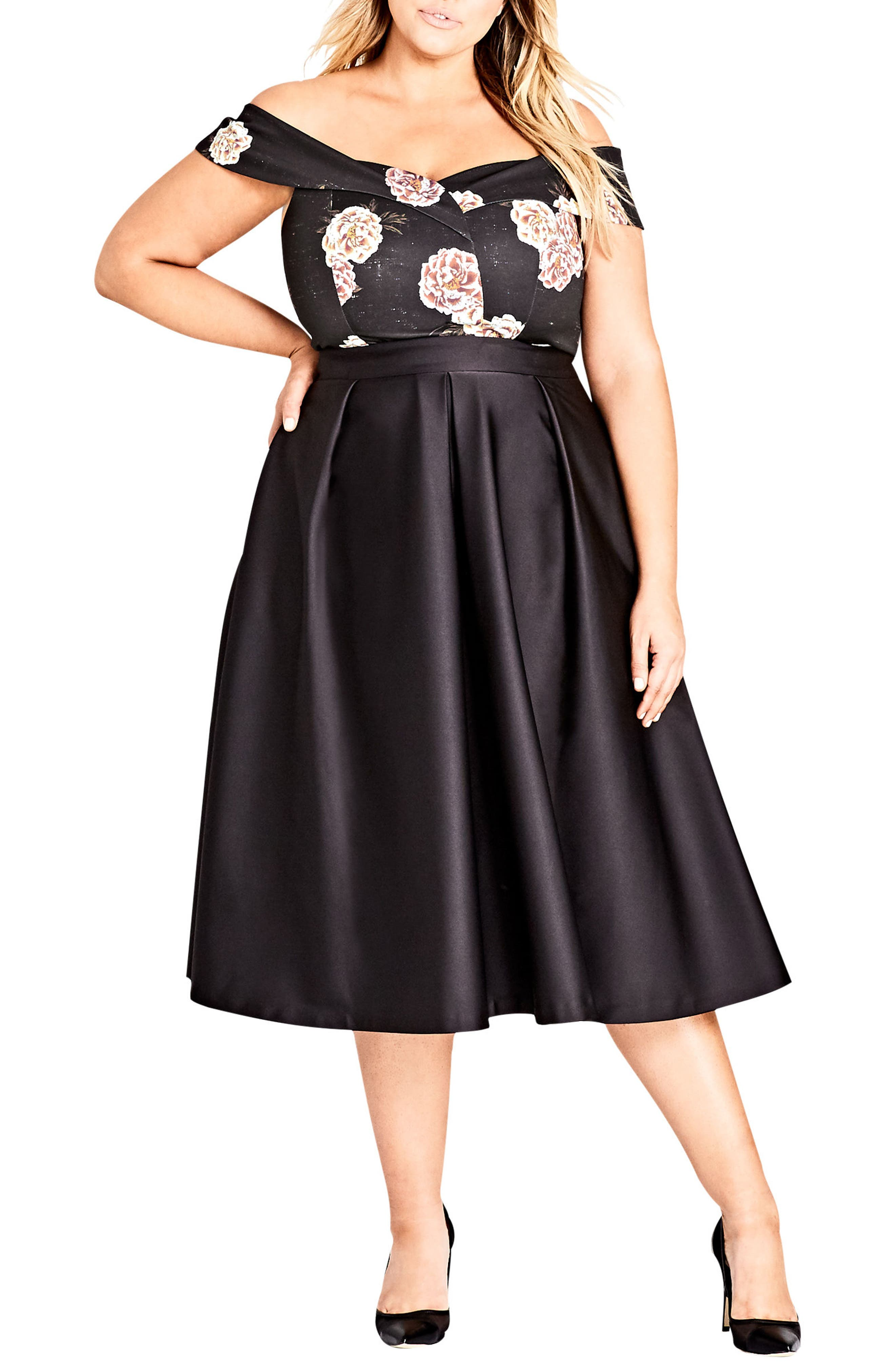 City Chic Sateen Midi Skirt (Plus Size)