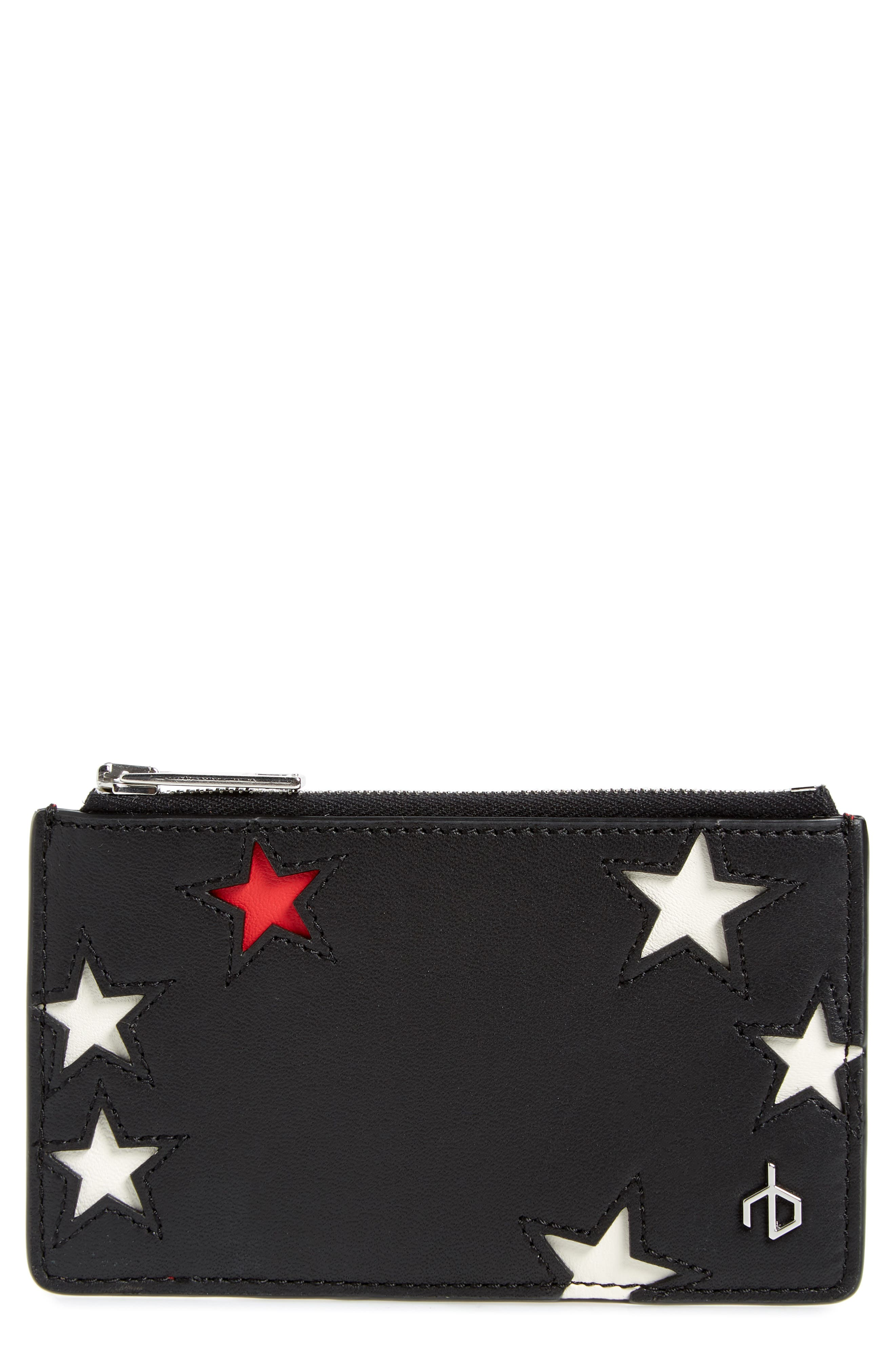 stars leather card case,                             Main thumbnail 1, color,                             Star Multi