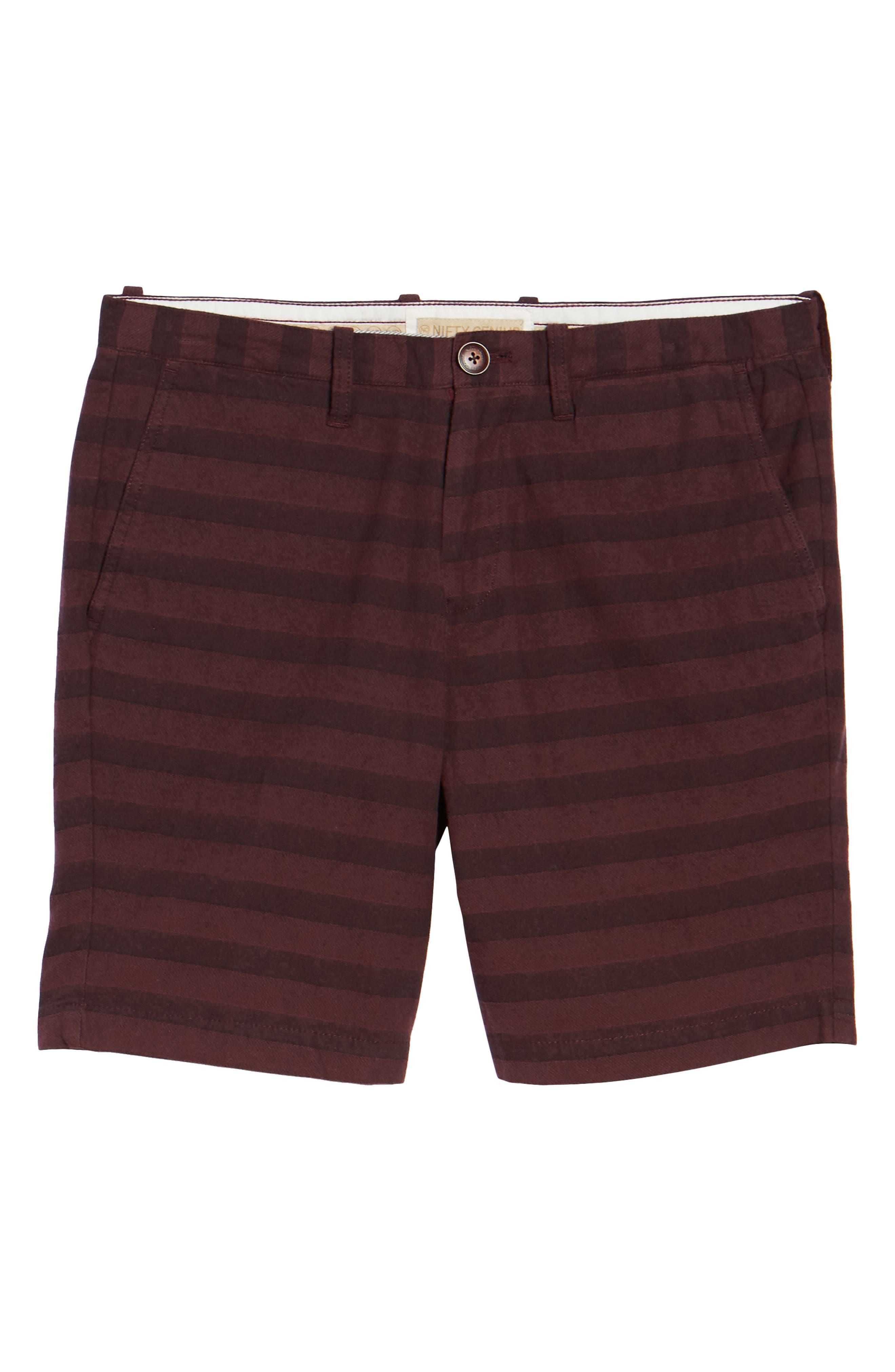 Morgan Stripe Bermuda Shorts,                             Alternate thumbnail 6, color,                             Burgundy