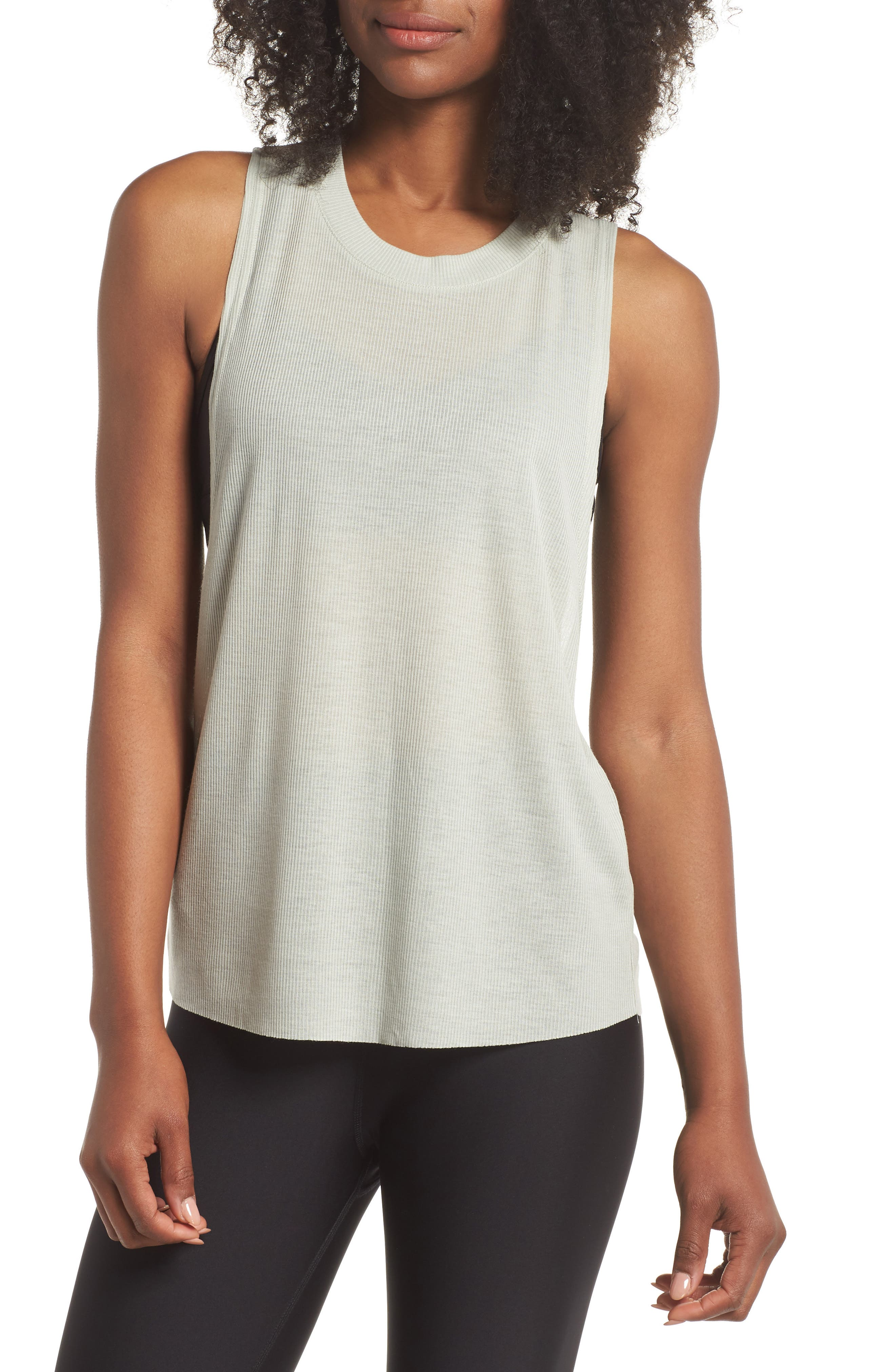 Heat Wave Ribbed Muscle Tee,                             Main thumbnail 1, color,                             Pistachio