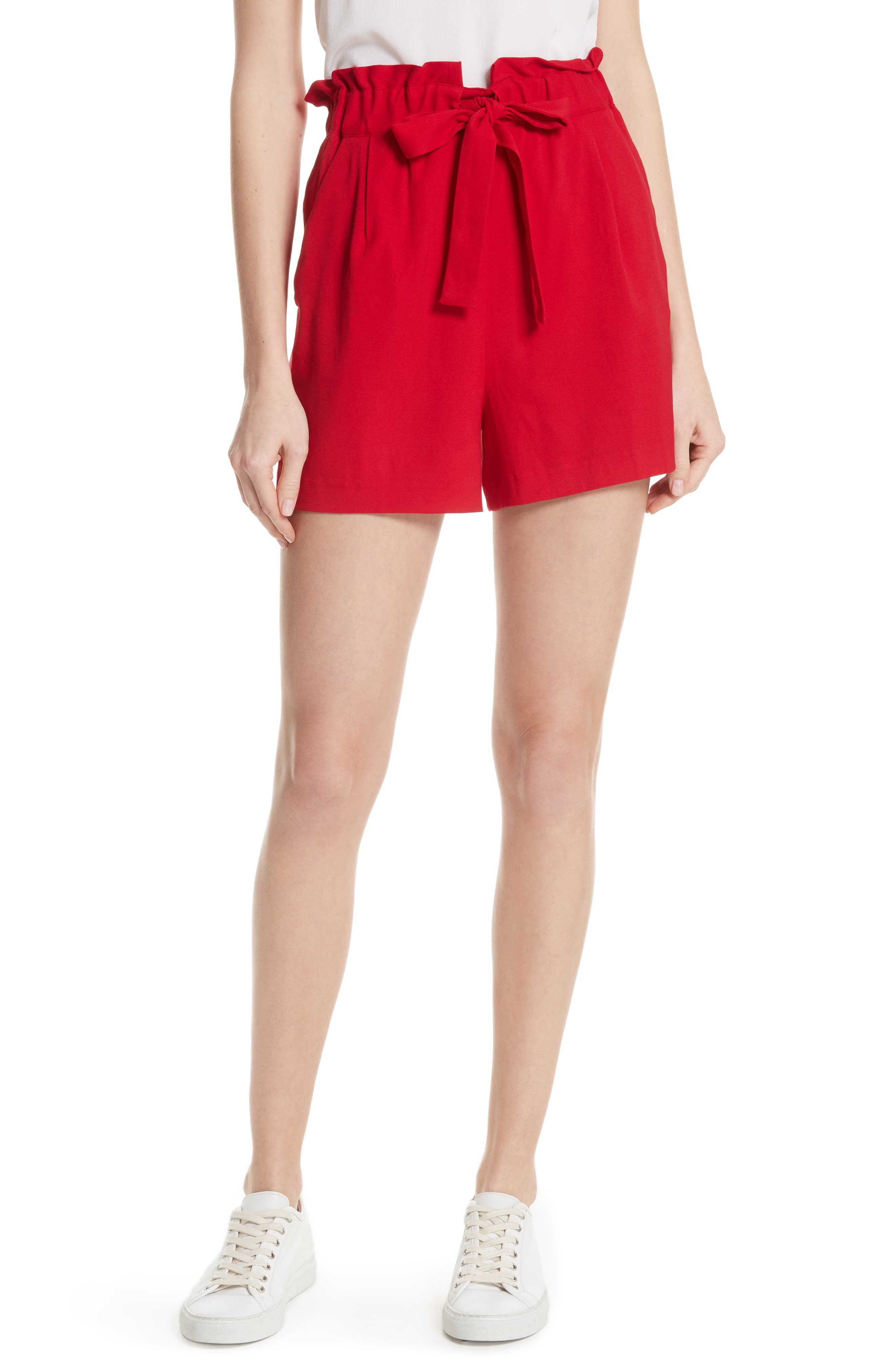Iona Paperbag Shorts,                         Main,                         color, Red