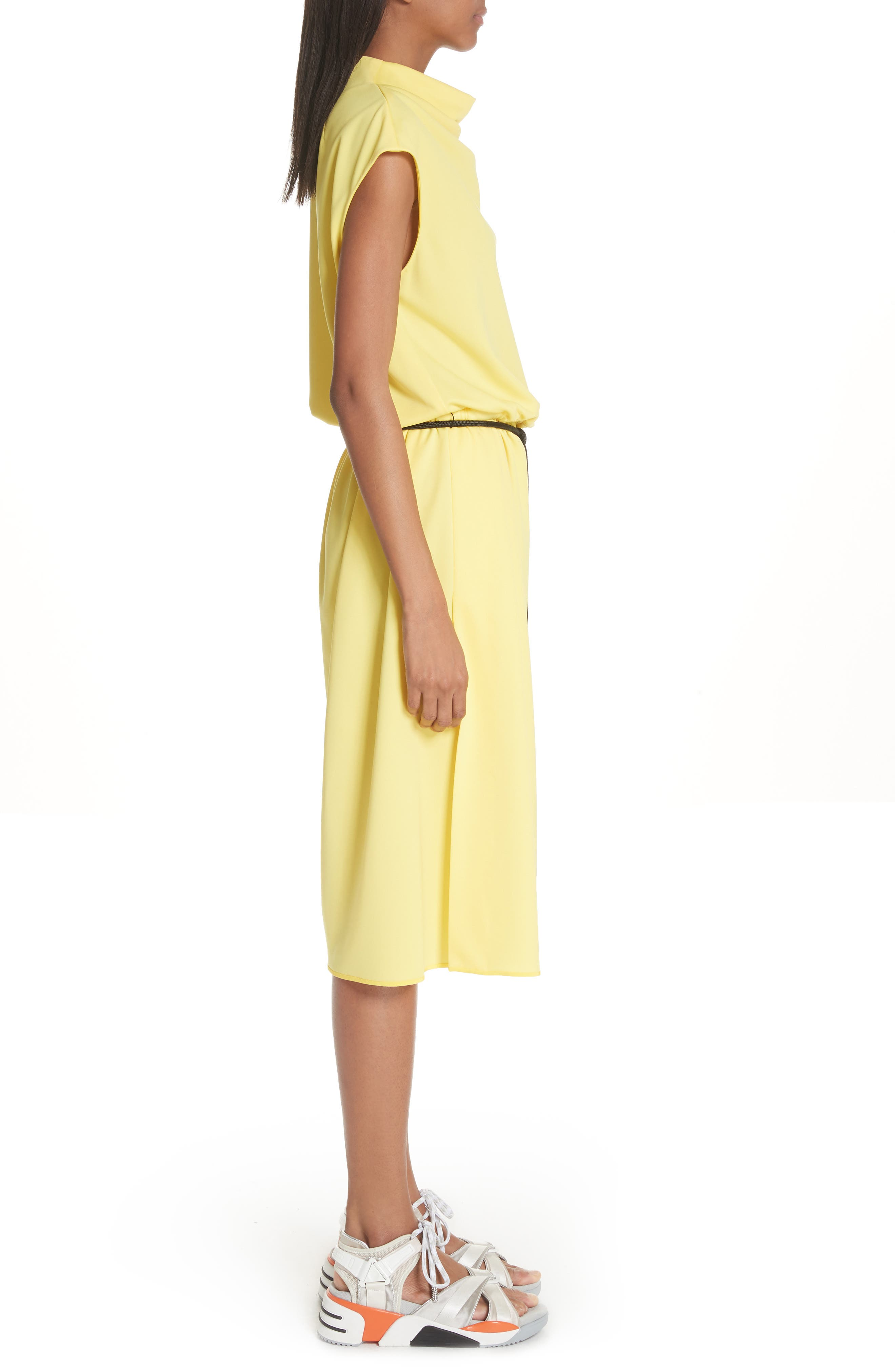 Cowl Neck Belted Dress,                             Alternate thumbnail 3, color,                             Yellow