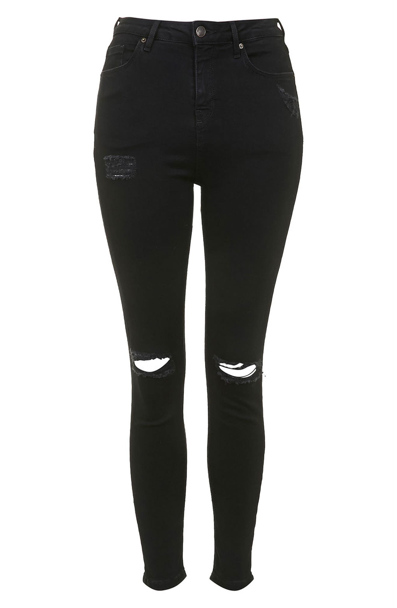 Moto Jamie Ripped Jeans,                             Alternate thumbnail 5, color,                             Black