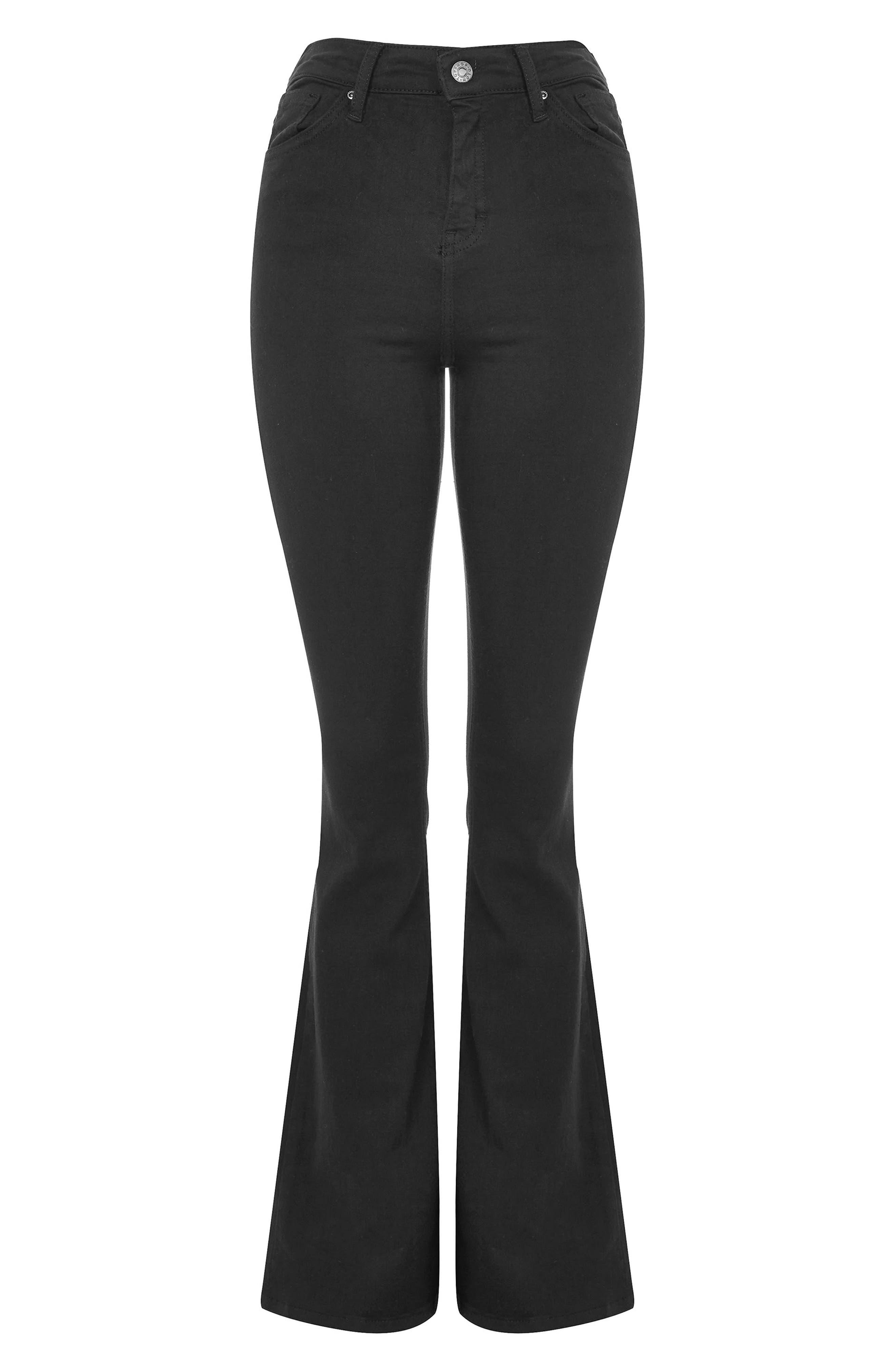 Jamie Flare Jeans,                             Alternate thumbnail 6, color,                             Black