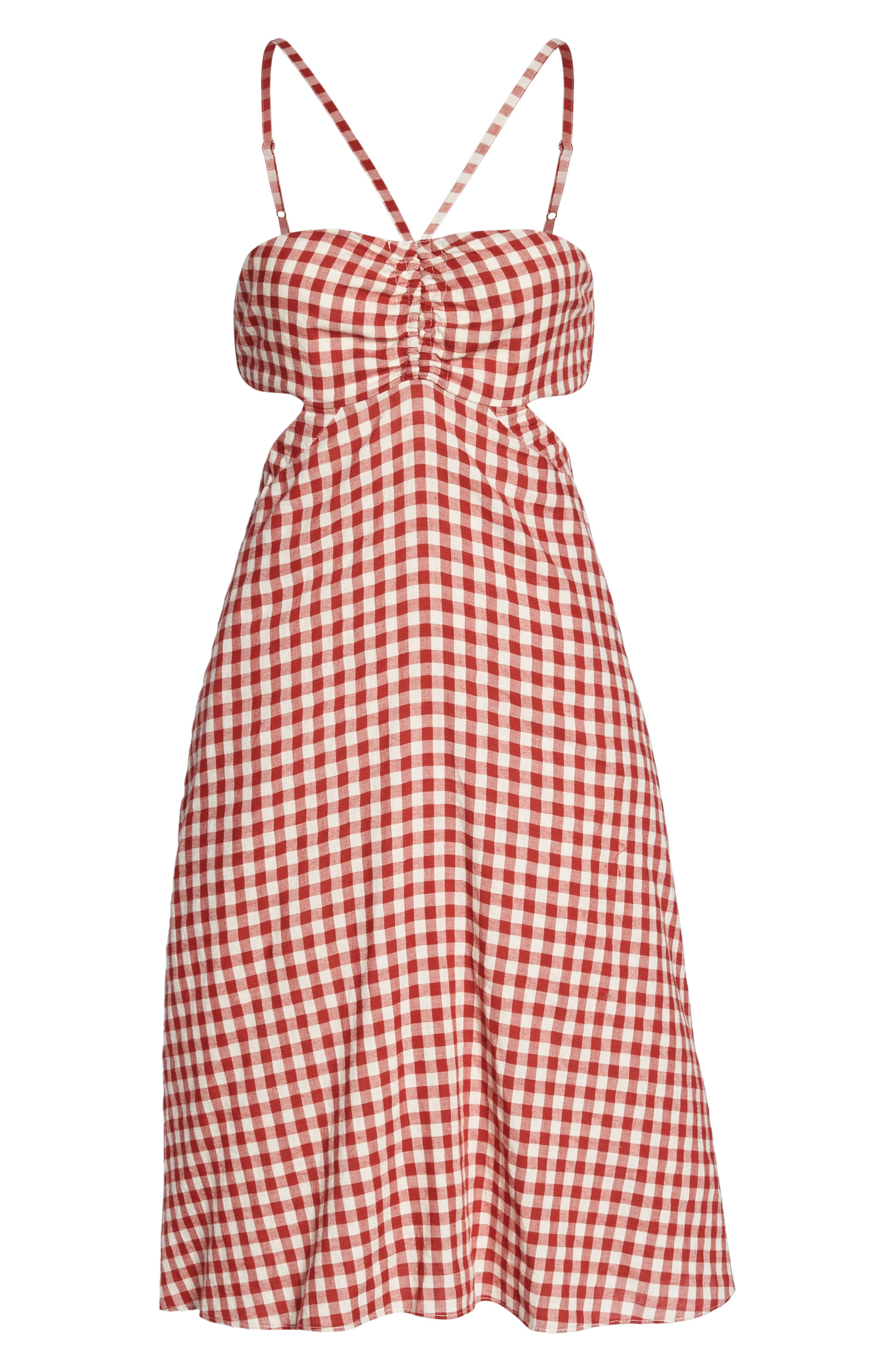 Gingham Bandeau Dress,                             Alternate thumbnail 7, color,                             Red-White